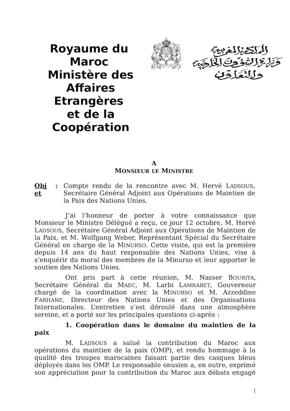 Compte Rendu De La Rencontre Avec M Hervé Ladsous, Secrétaire Général Adjoint Aux Opérations De Maintien De La Paix Des Nations Unies