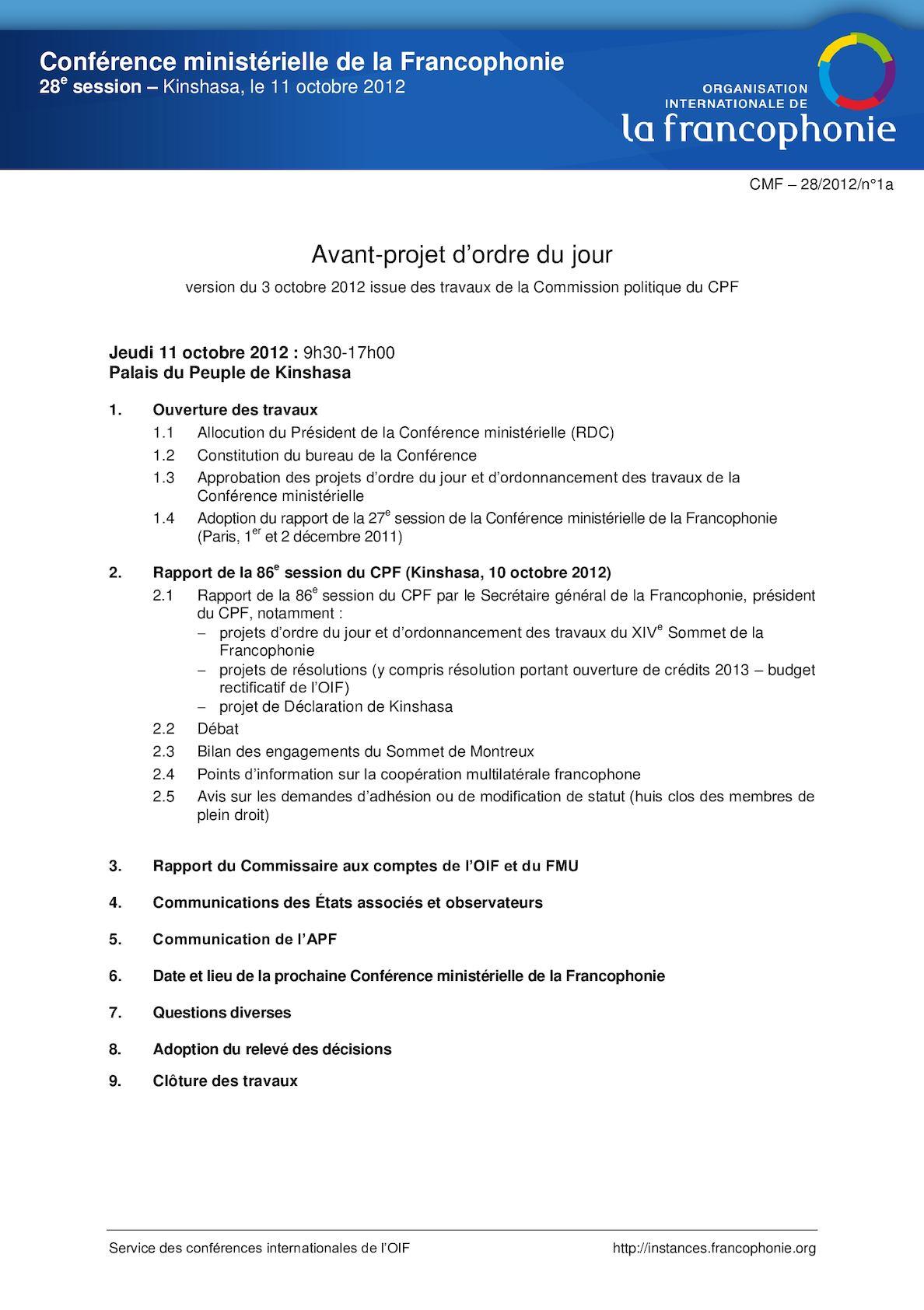 Cmf28 1a Av Projet OJ CMF 28 10102012