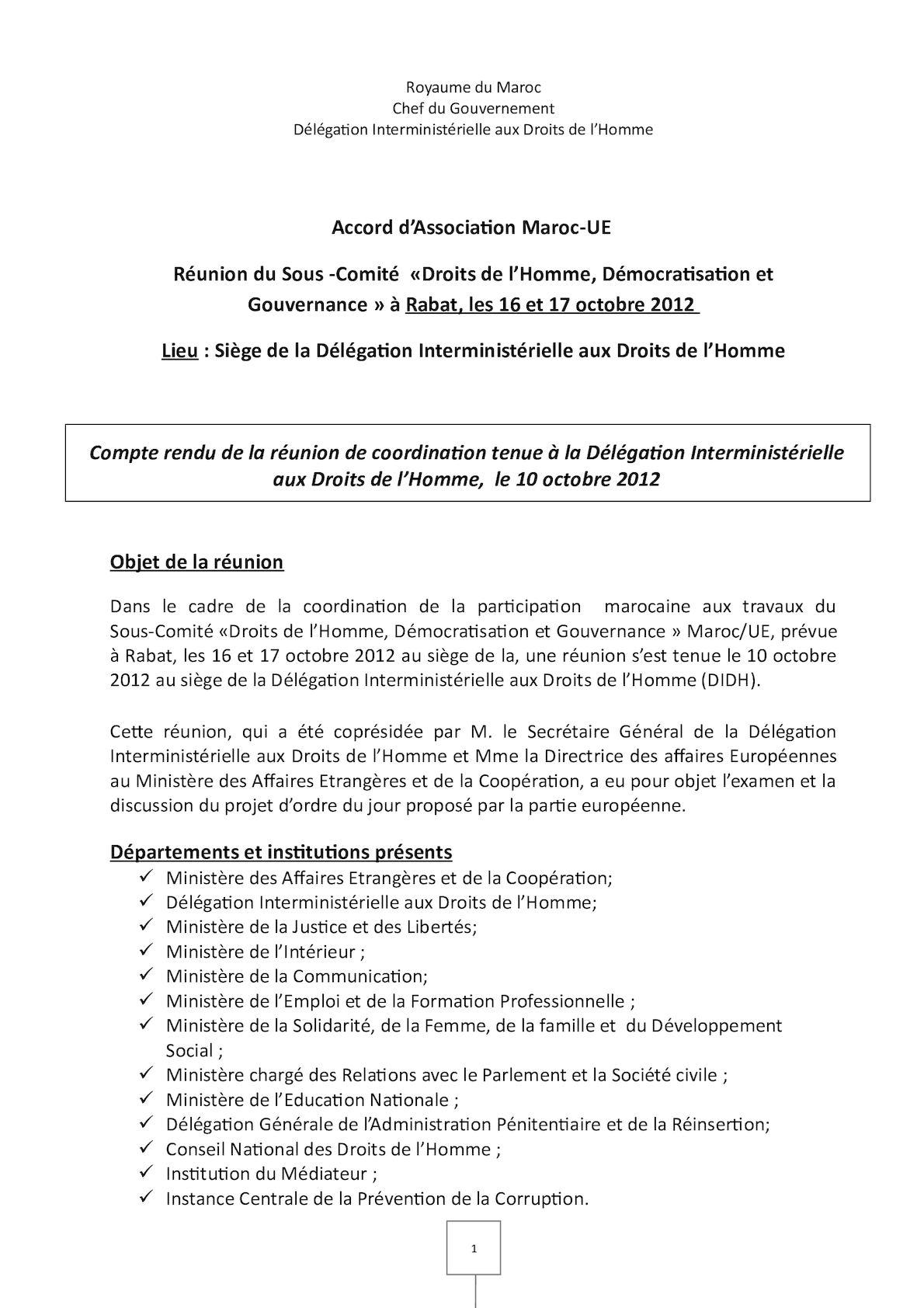 Compte Rendu Du 10 Octobre 2012