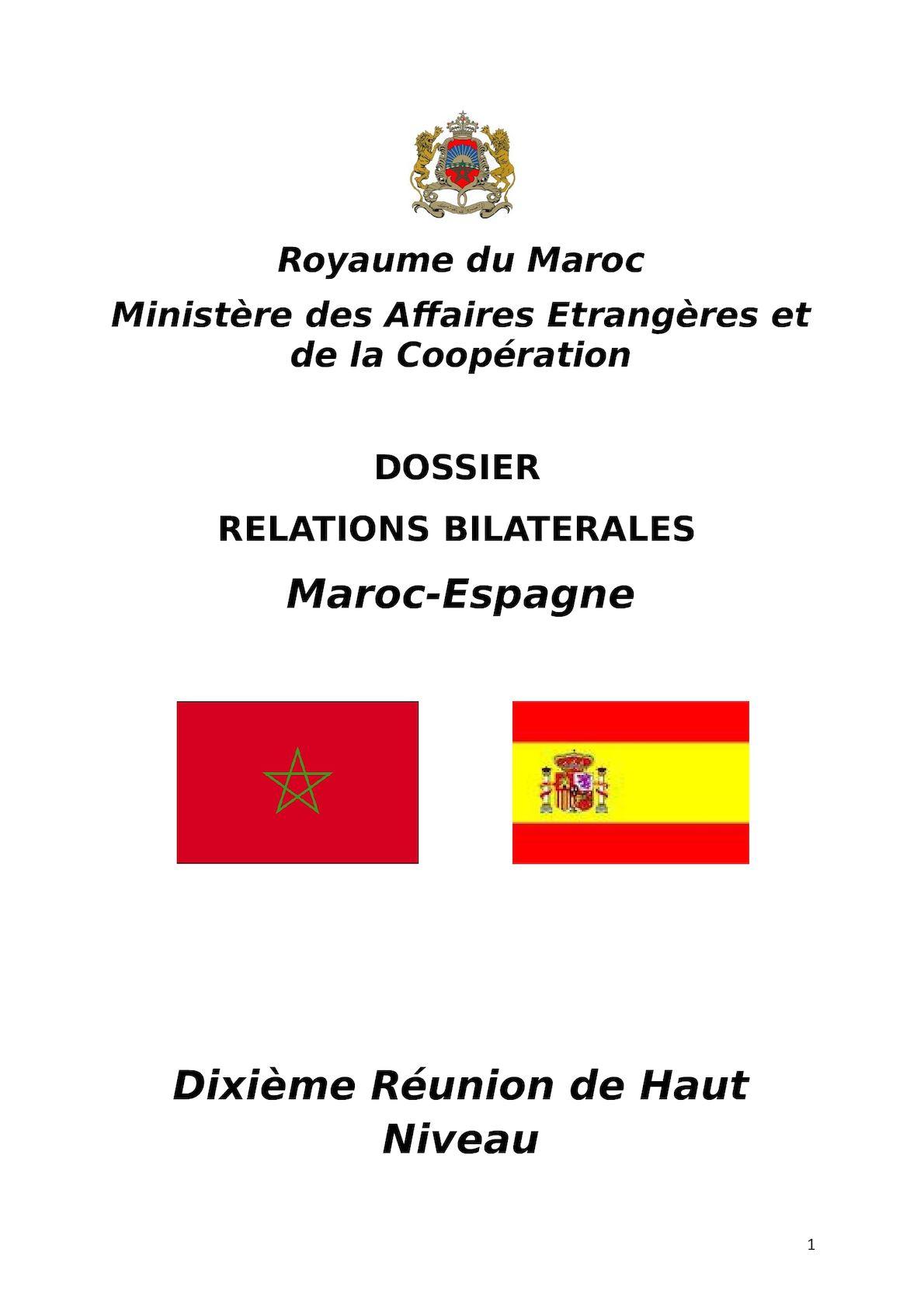 DOSSIER Relations  Bilaterales  MAROC ESPAGNE