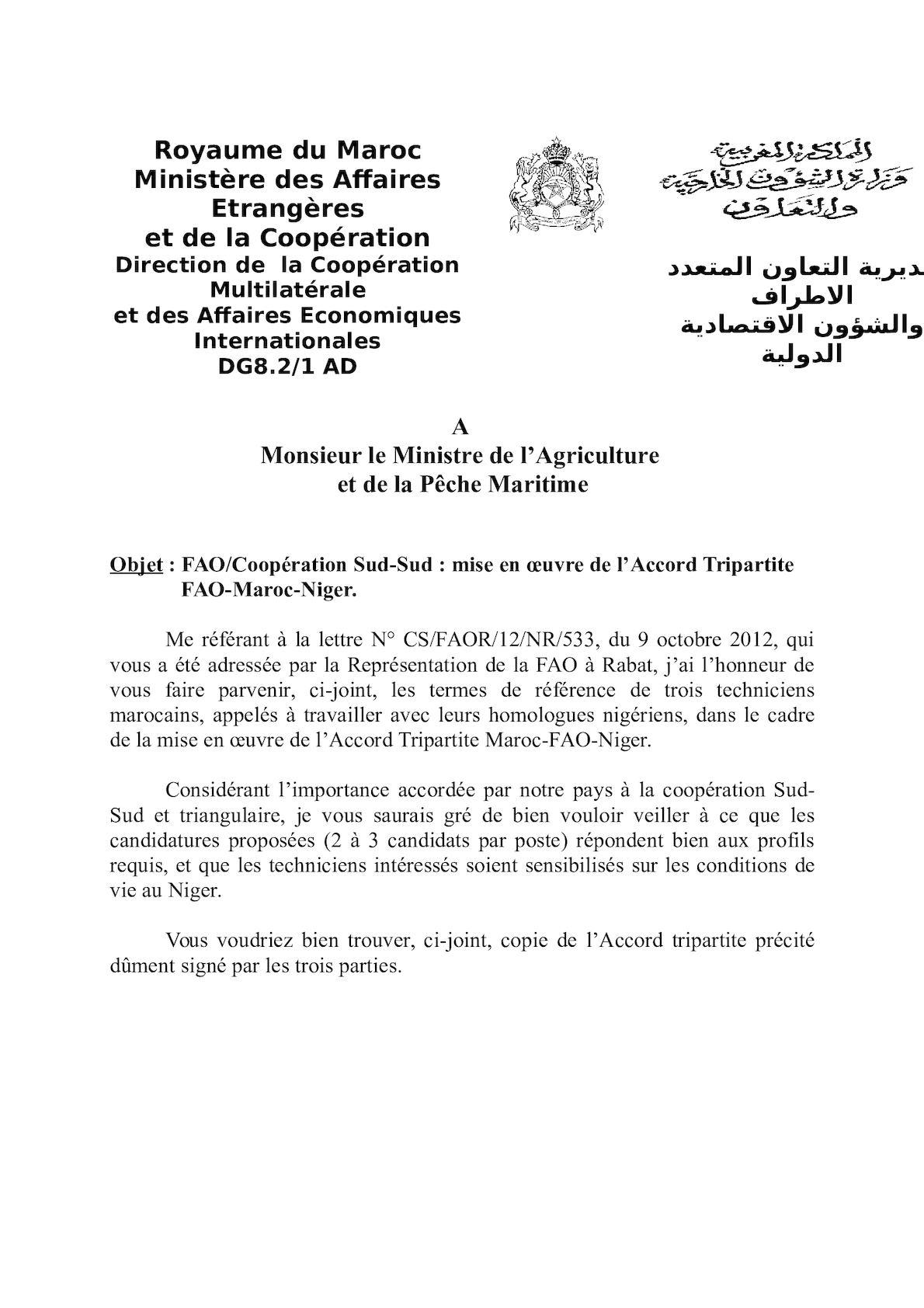 FAO Accor Tripartite FAO MOR Niger 2