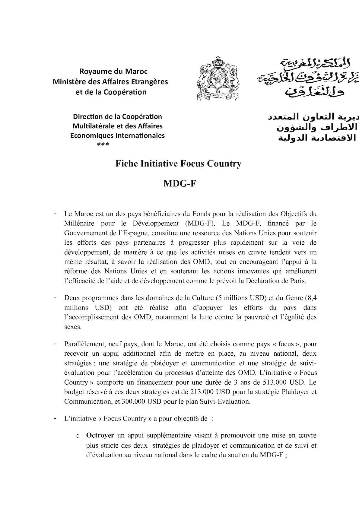 Fiche Initiative Focus Country (MDG F).