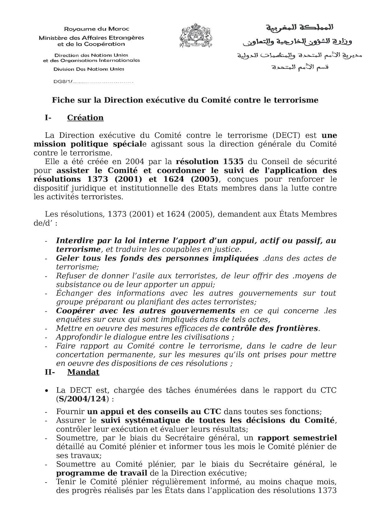 FICHE Sur La Direction Exécutive Du Comité Contre Le Terrorisme