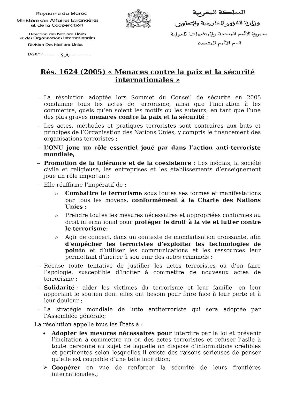 Résolution 1624 (2005) - Synthèse