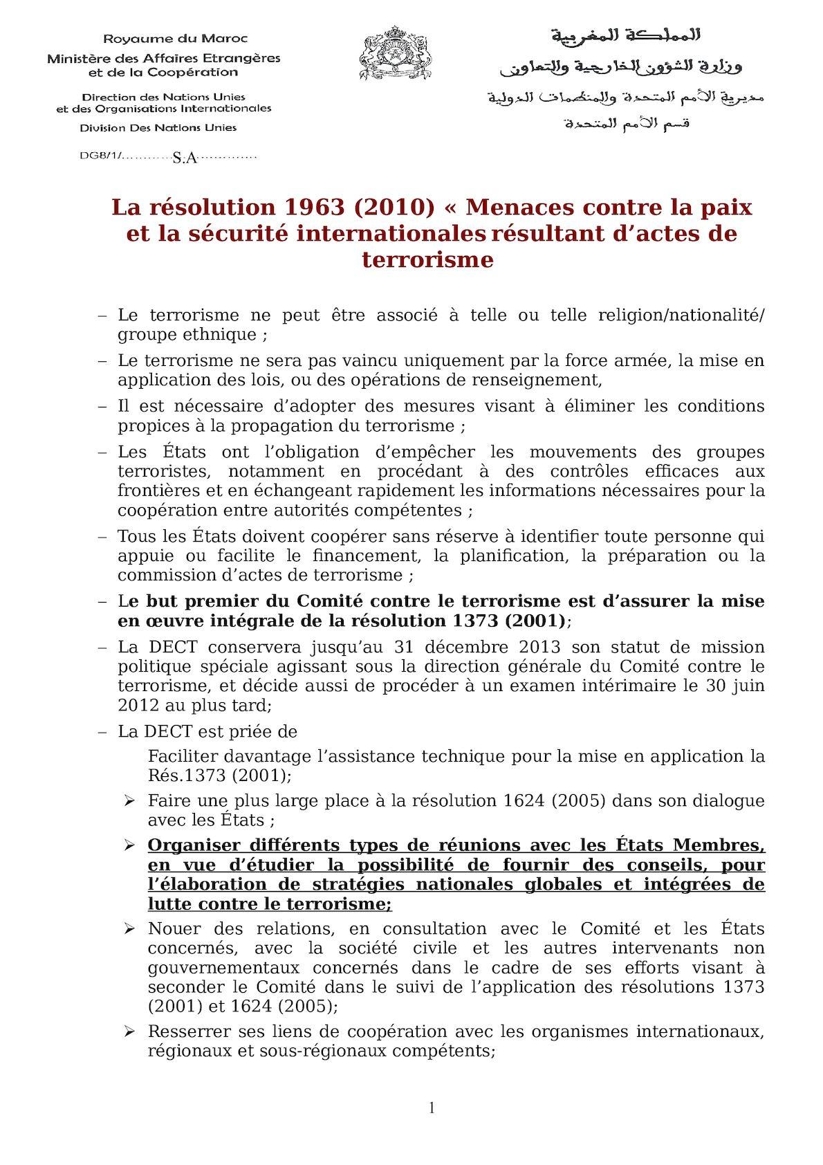 Résolution 1963 (2010) - Synthèse