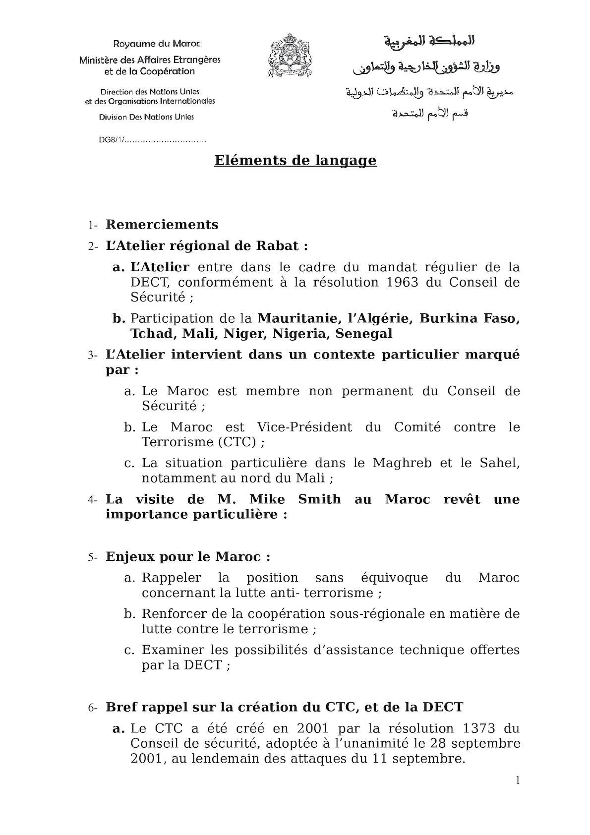 DECT - Atelier De Rabat - Elements De Langage