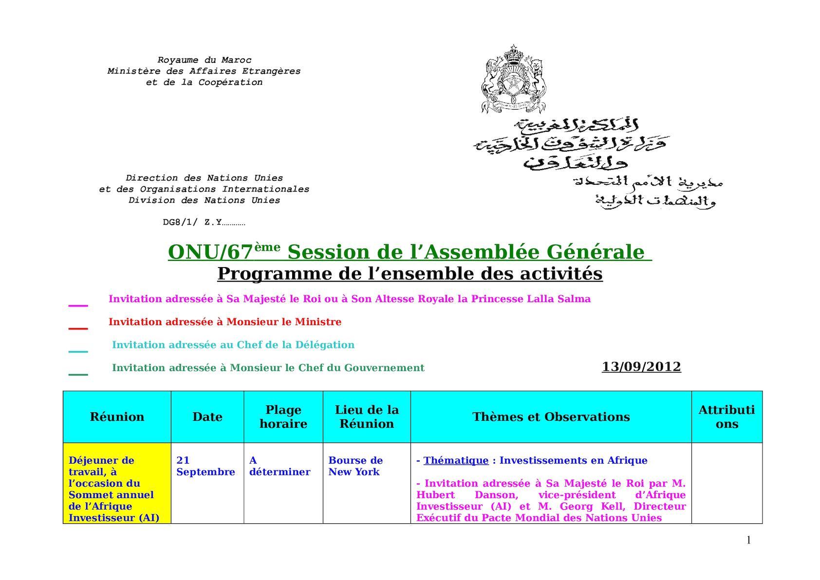 Tableau Des Reunions à Jour Le 13 Sep 2012