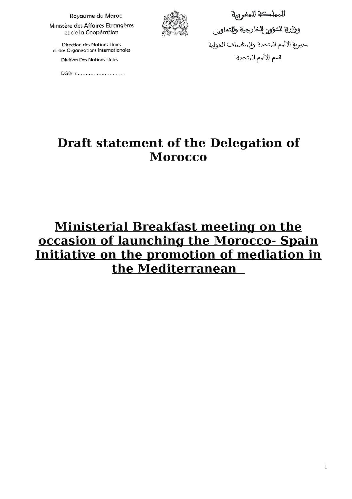 Draft Statement  Mediation In The Mediterranean