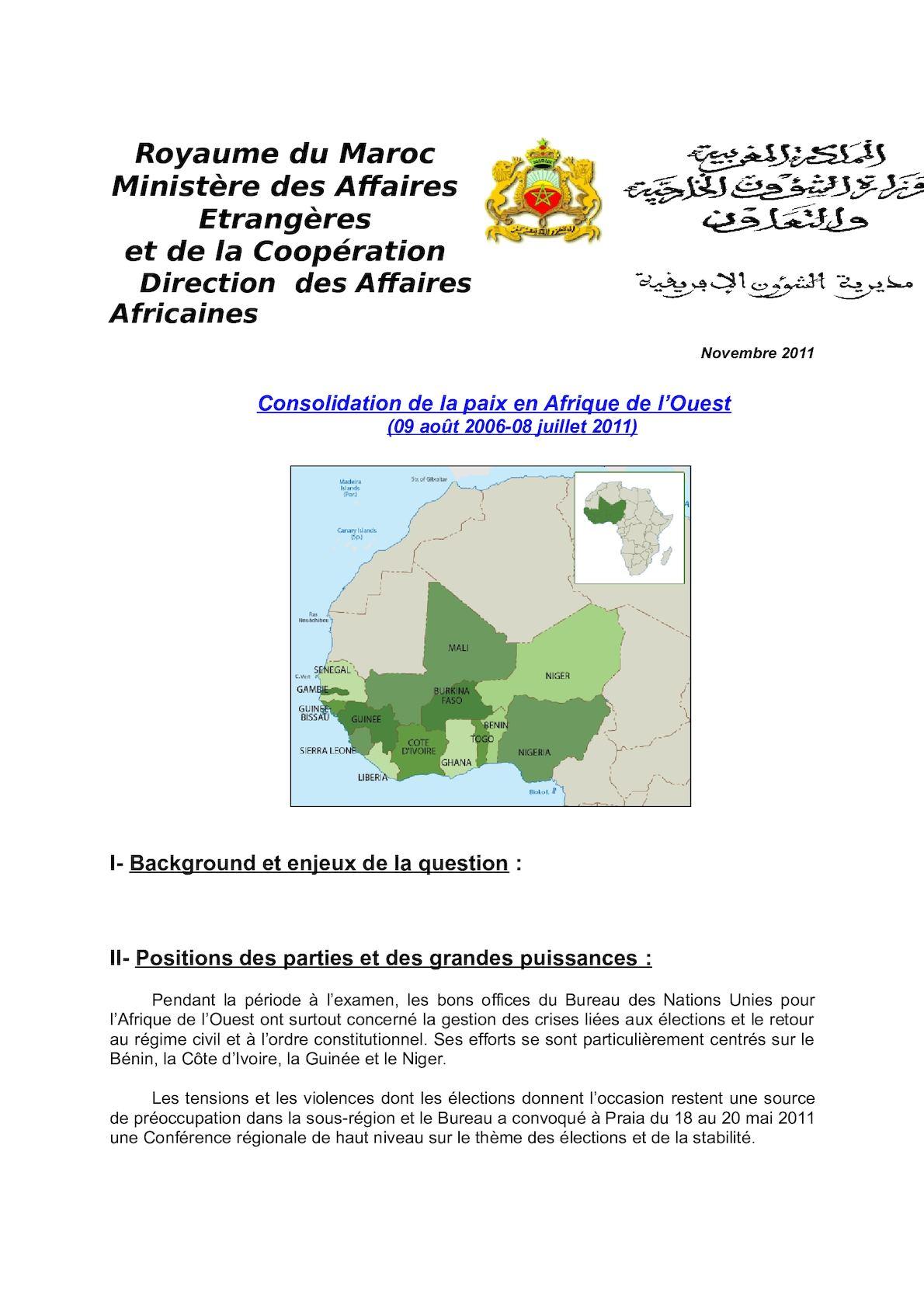Consolidation De La Paix Afrique De L'Ouest