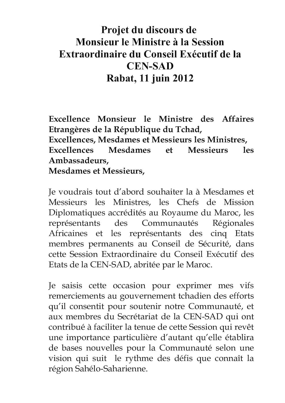 DISCOURS OUVERTURE MINISTRE FR CENSAD