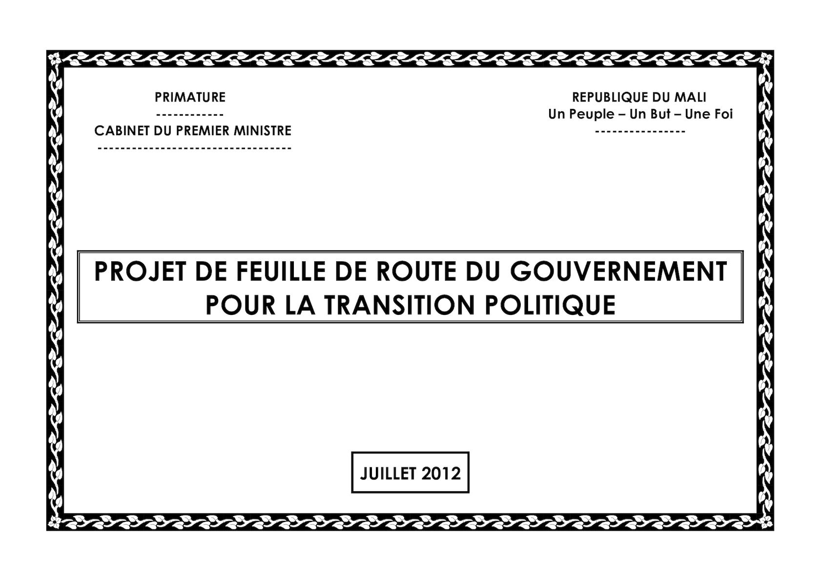 FEUILLE ROUTE TRANSITION 12 07 2012