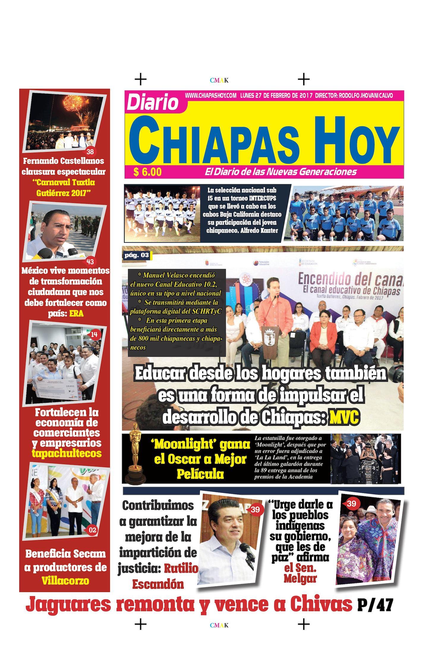 Chiapas Hoy Lunes 27 de Febrero de 2017