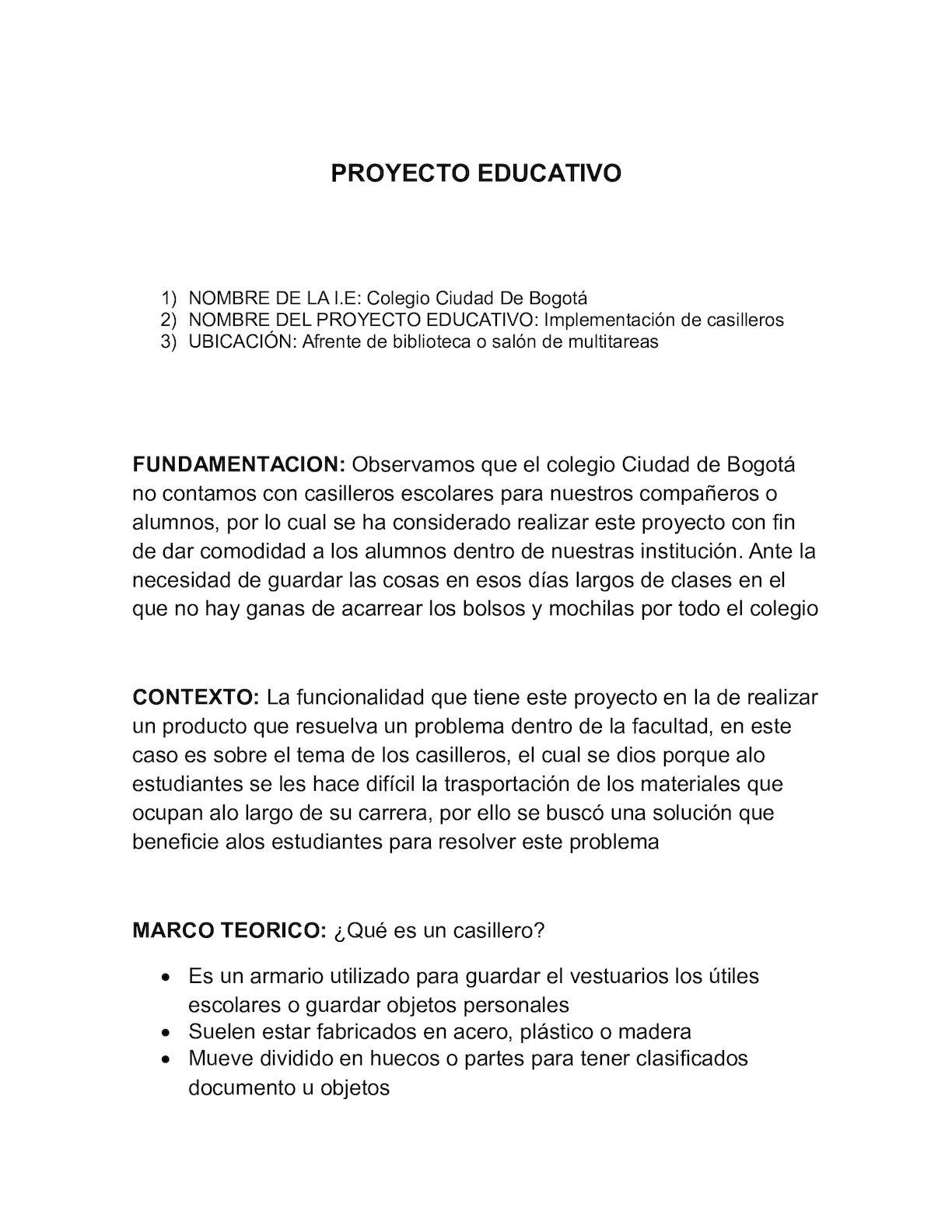 Proyecto Educativo Casilleros