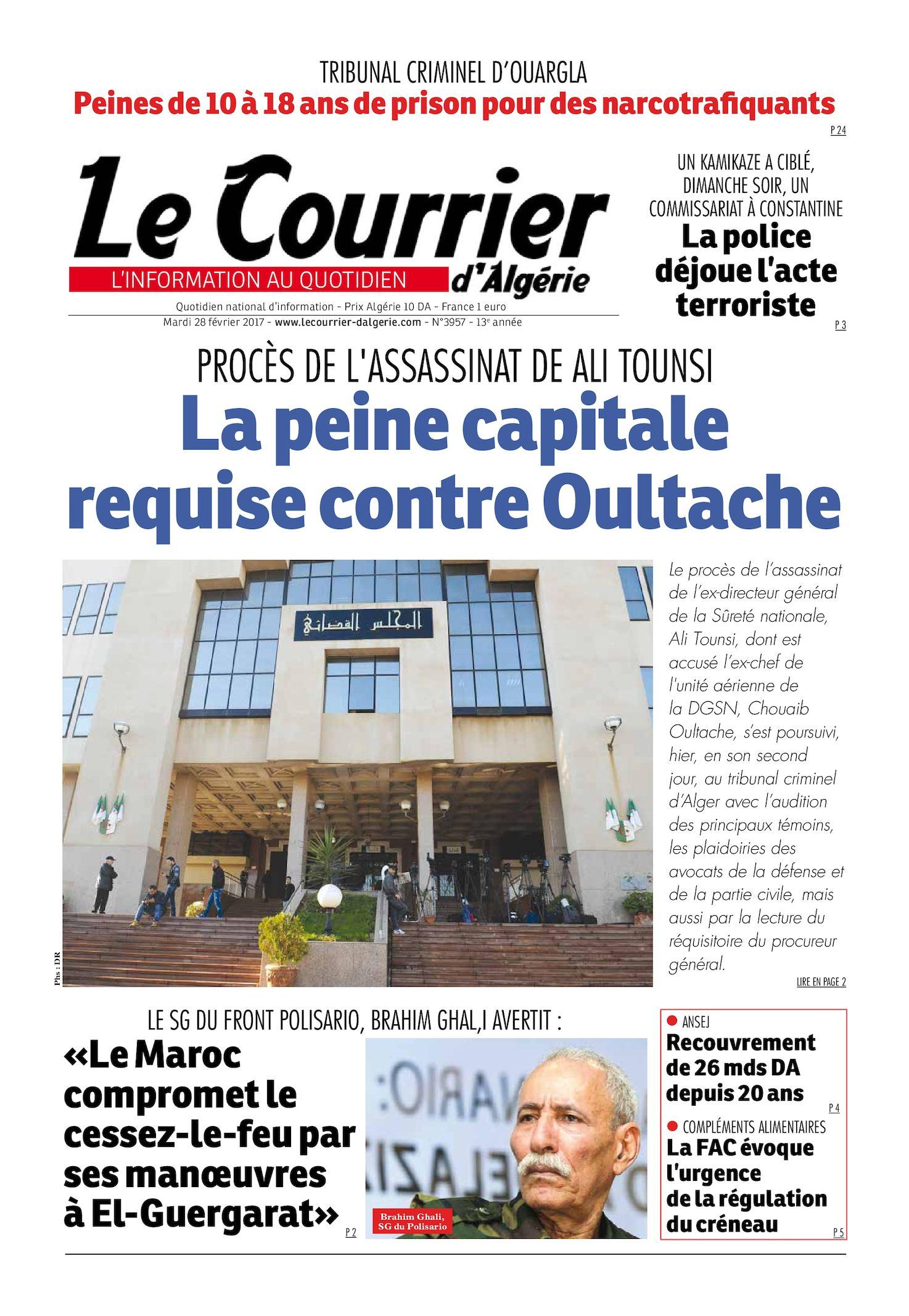 Le Courrier D'Algérie Du Mardi 28 Février 2017