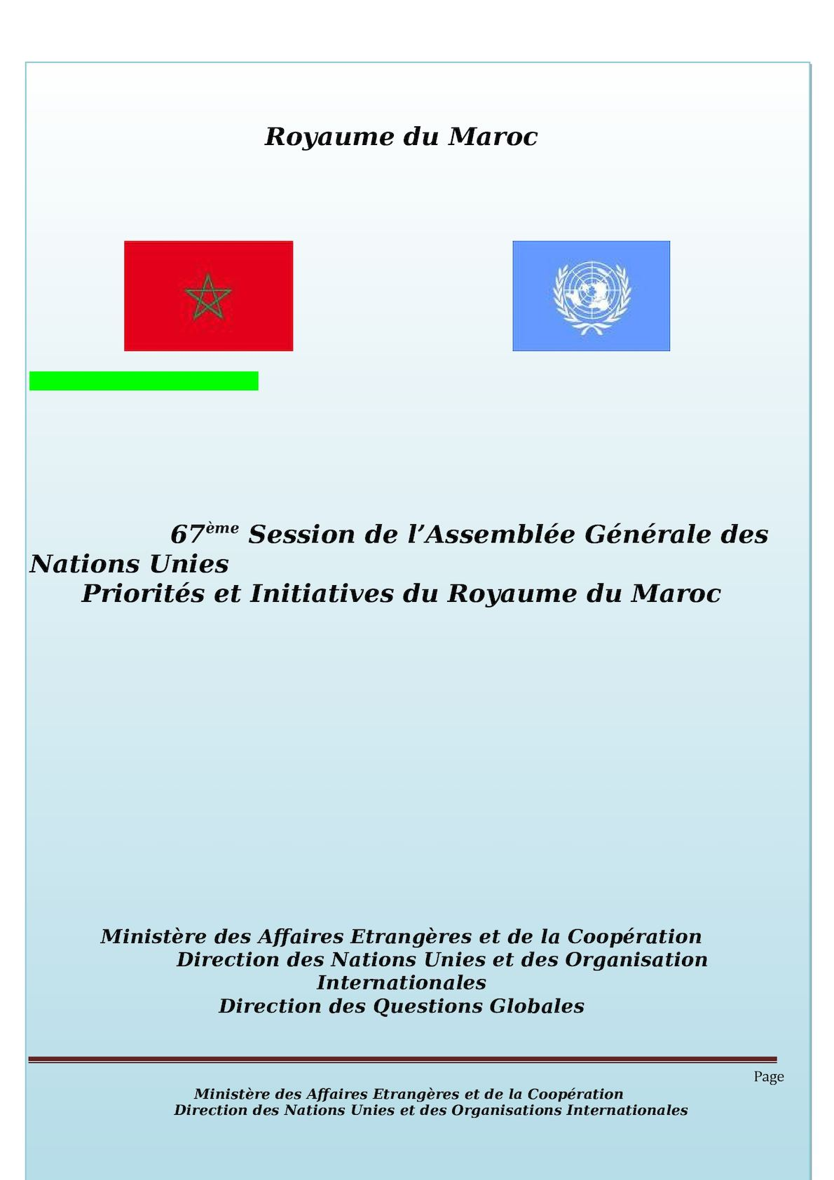 POSITION PAPER 67eme Session De L'AG ONU
