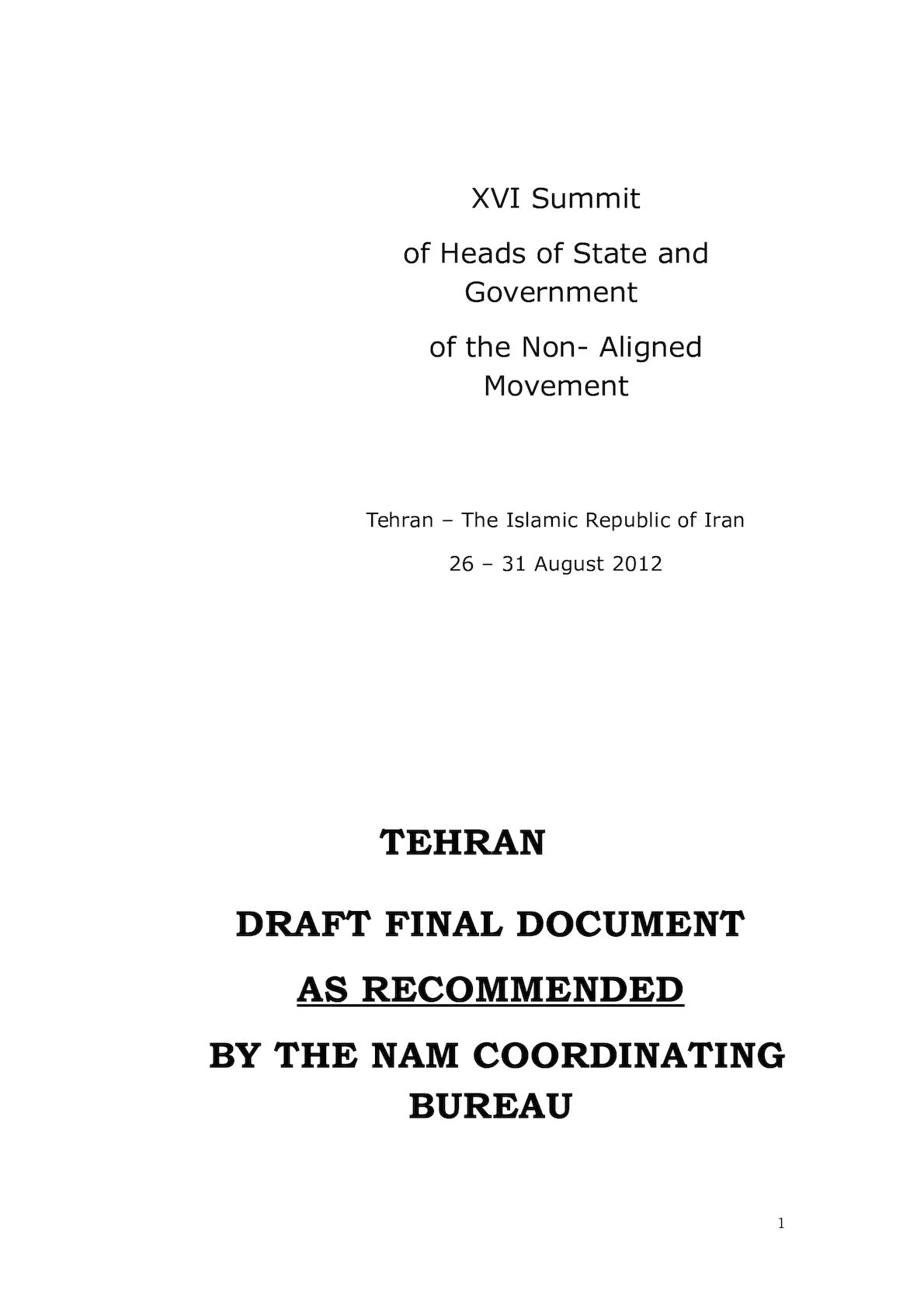TEHRAN DRAFT FINAL DOCUMENT- As Recommended By The NAM Co B