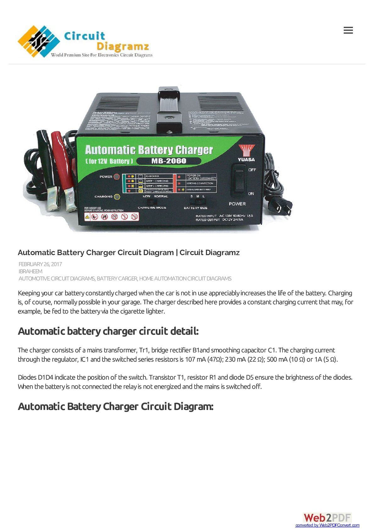 Calamo Automatic Battery Charger Circuit Diagram Diagramz Solar Also 12v 500ma Charge
