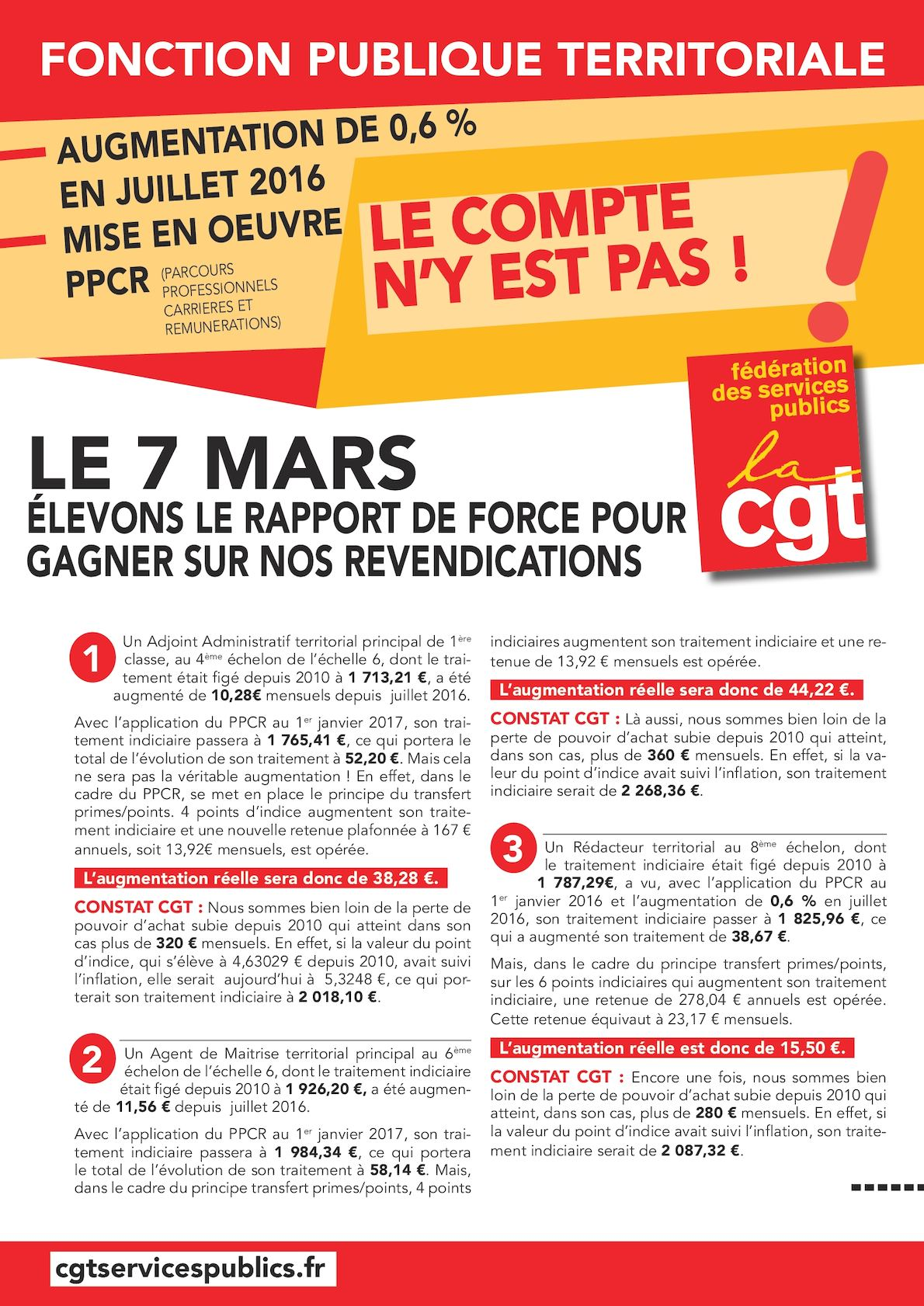 Calam o 7mars tract ppcr remunerations - Grille evolution carriere fonction publique territoriale ...