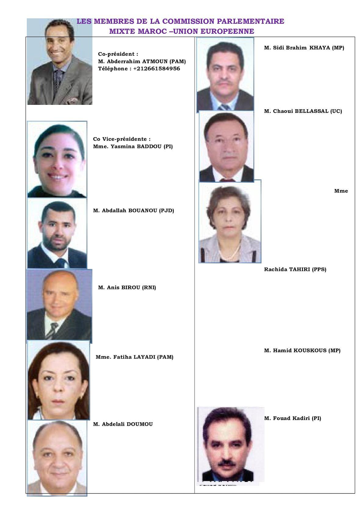Liste Des Membres Marocains De La CPM Maroc UE