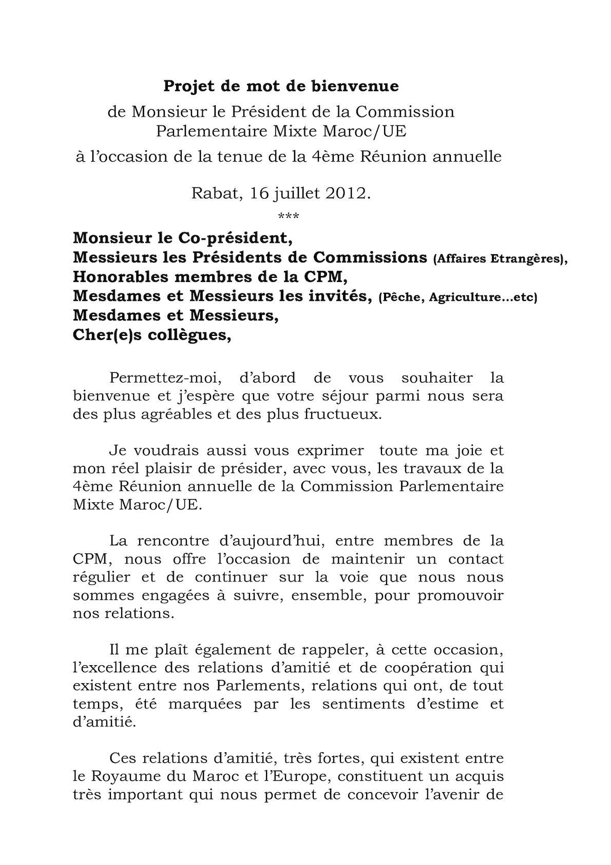Mot De Bien Venue De M Atmoun 4eme Reunion CPM