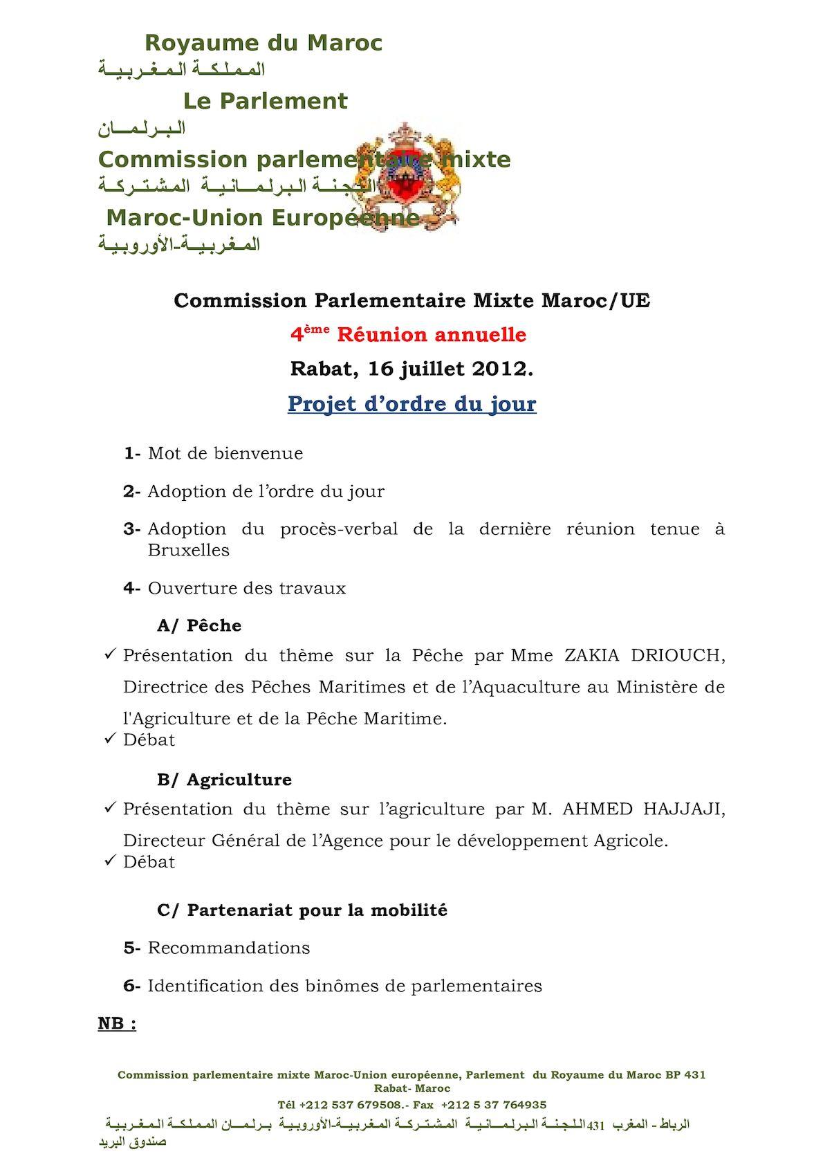 Ordre Du Jour 4ème Réunion Annuelle CPM  16 Juillet 2012