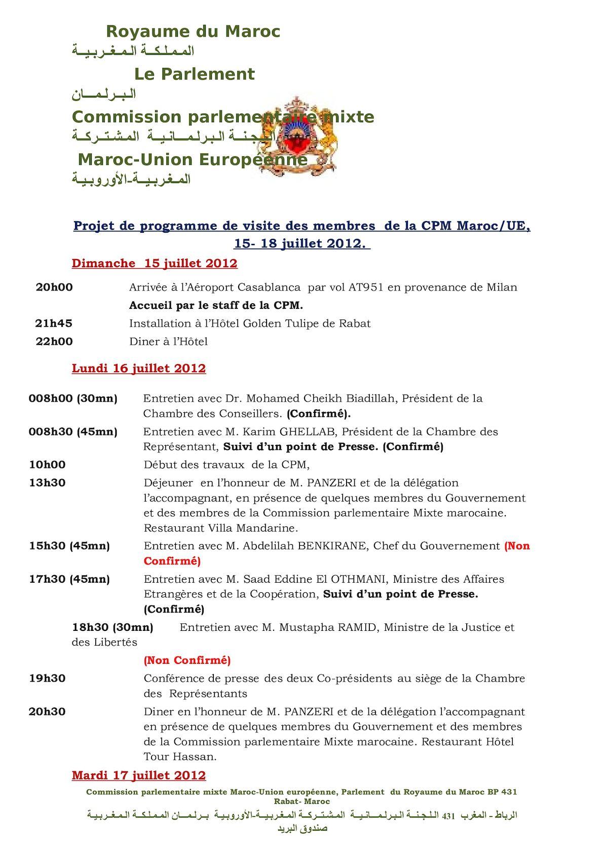 Projet De Programme De Visite Des Membres  De La CPM Version 15 Juillet 2012