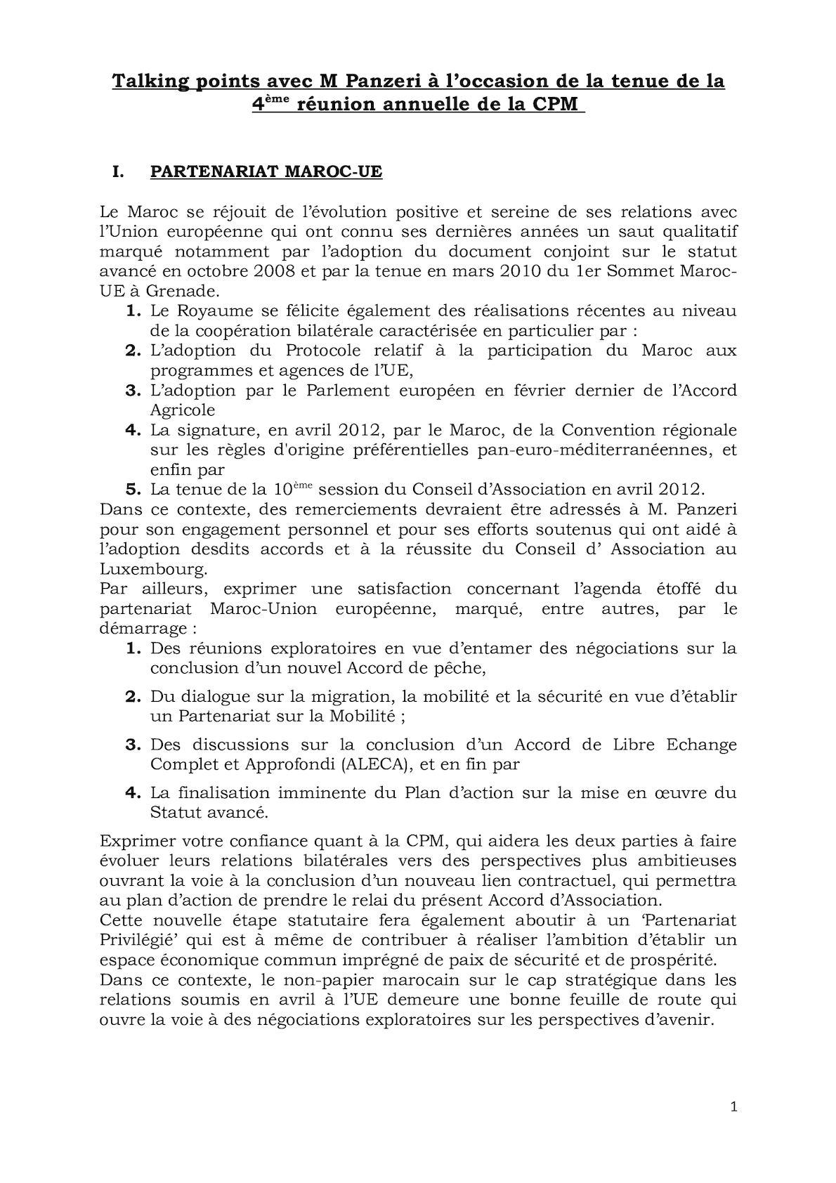 Talking Points De M Le Président Avec M Panzeri