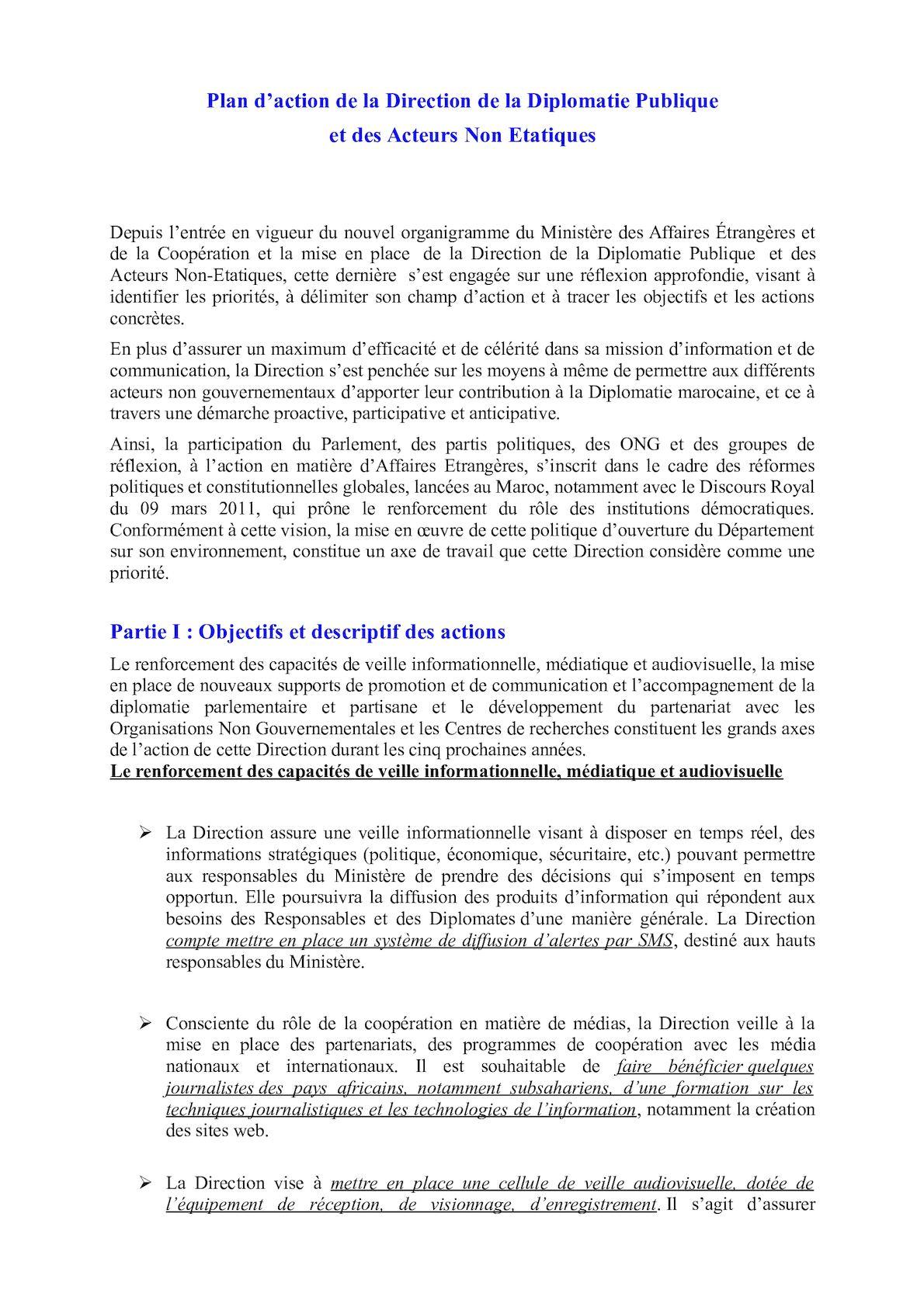 Plan D'action De La Direction De La Diplomatie Publique