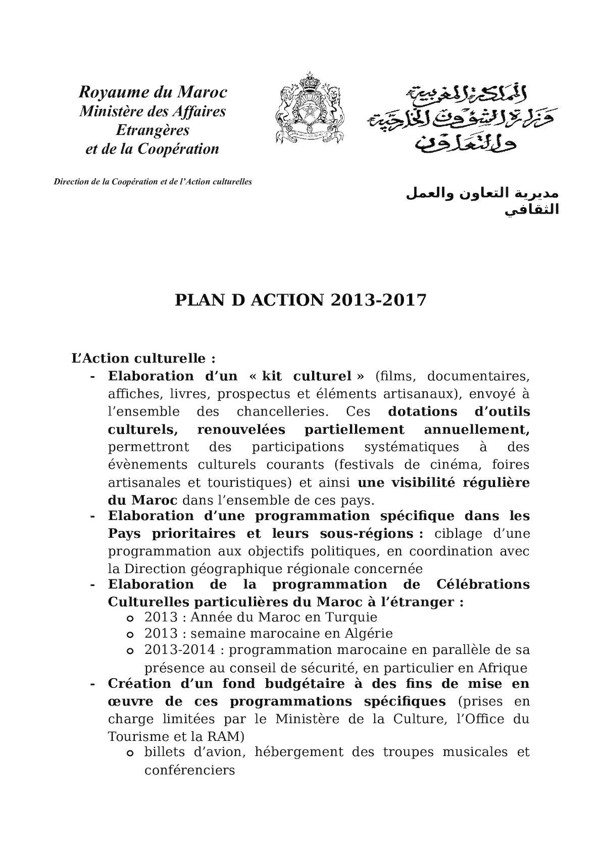 Plan D'action 2013 2017