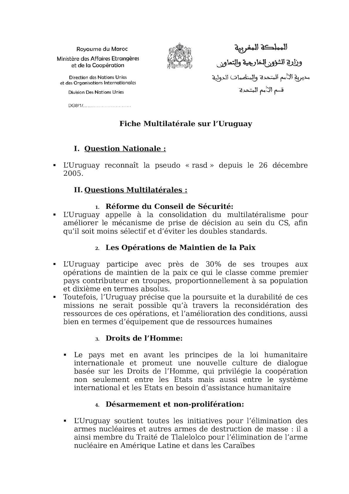 Fiche Multilatérale L'uruguay  Juin 2012