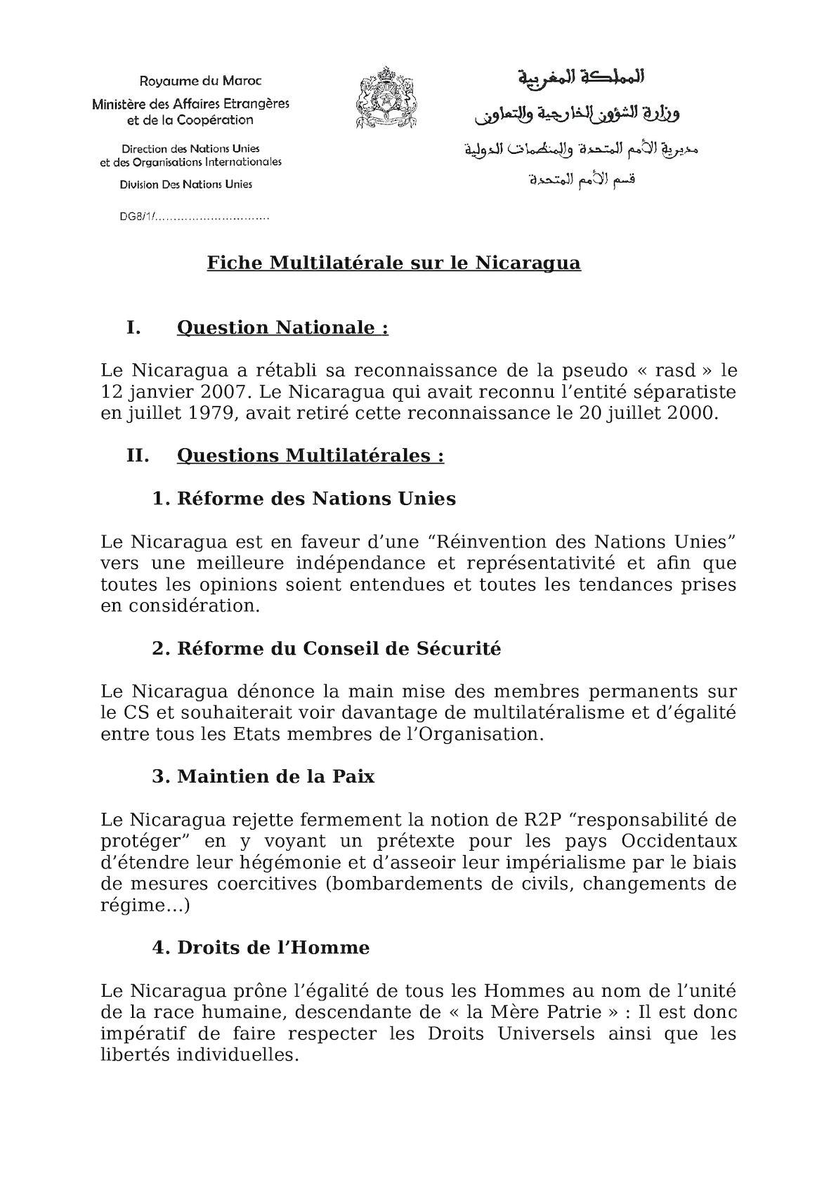 Fiche Multilatérale Nicaragua