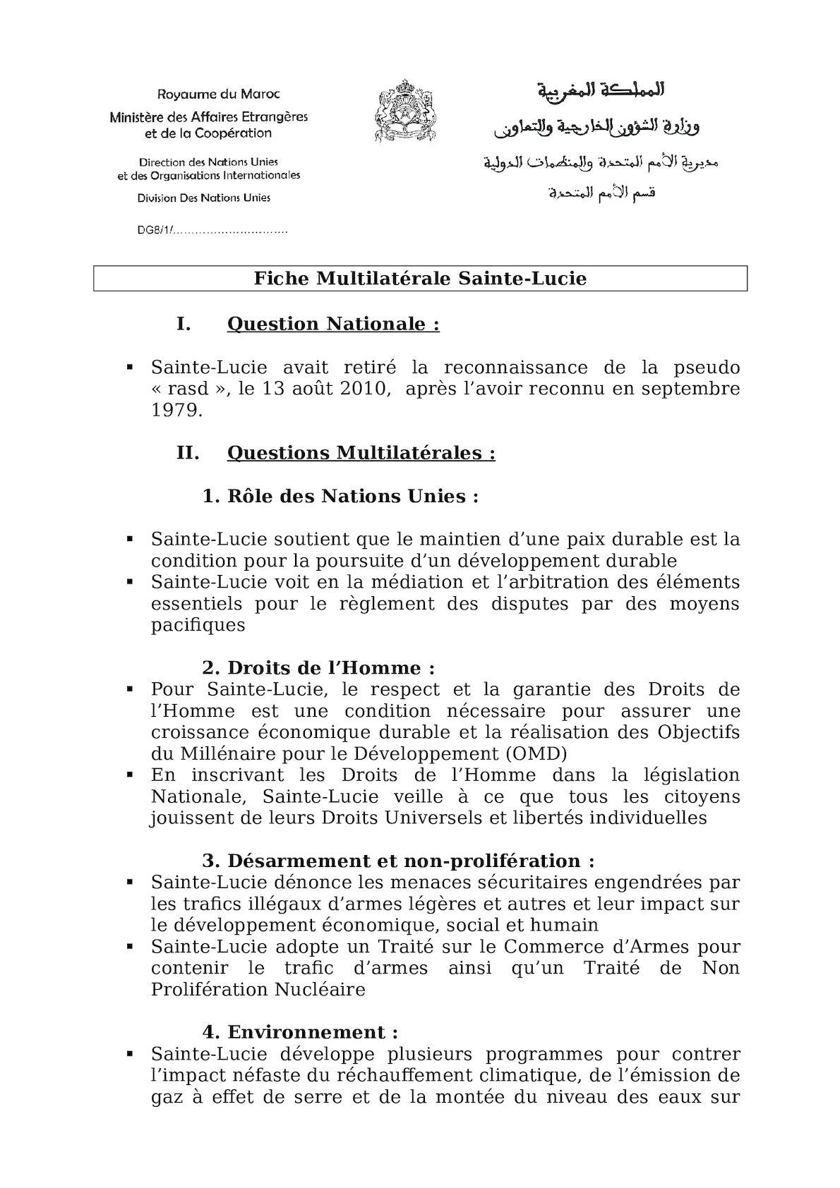 Fiche Multilatérale Sainte Lucie