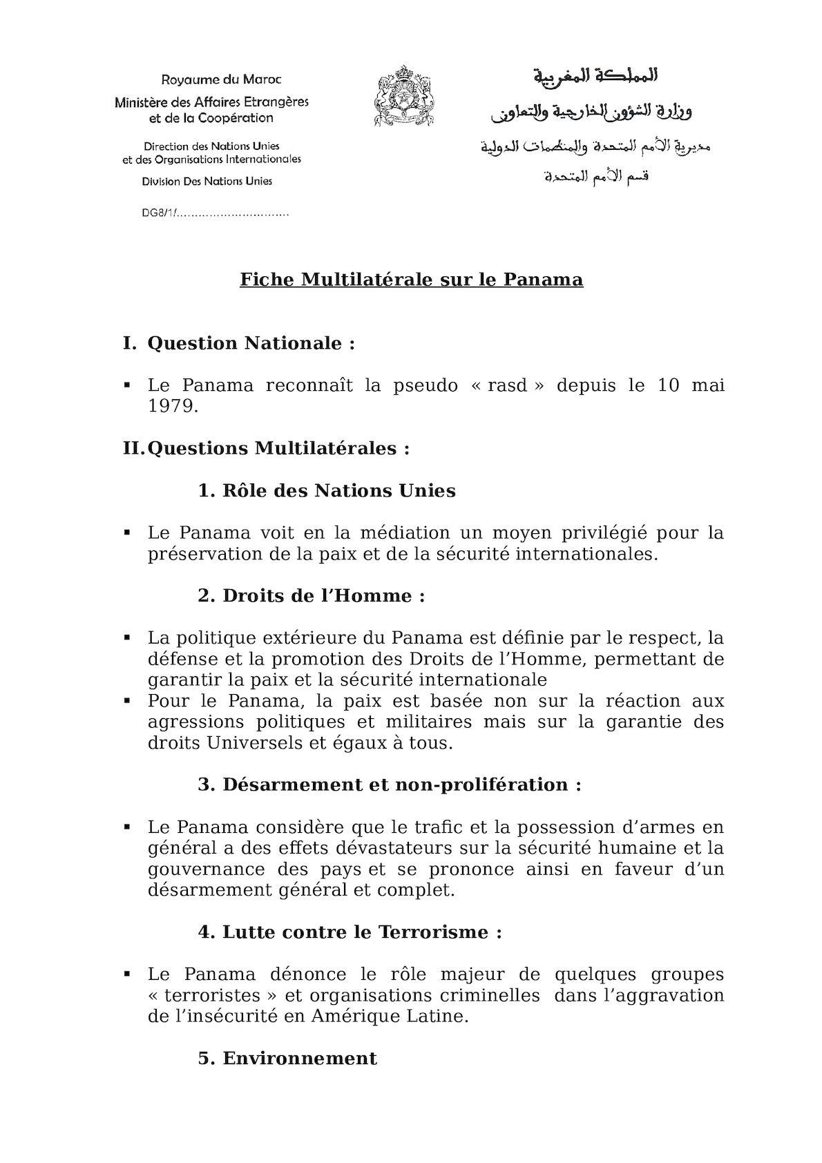 Fiche Multilatérale Sur Le Panama Juin 2012