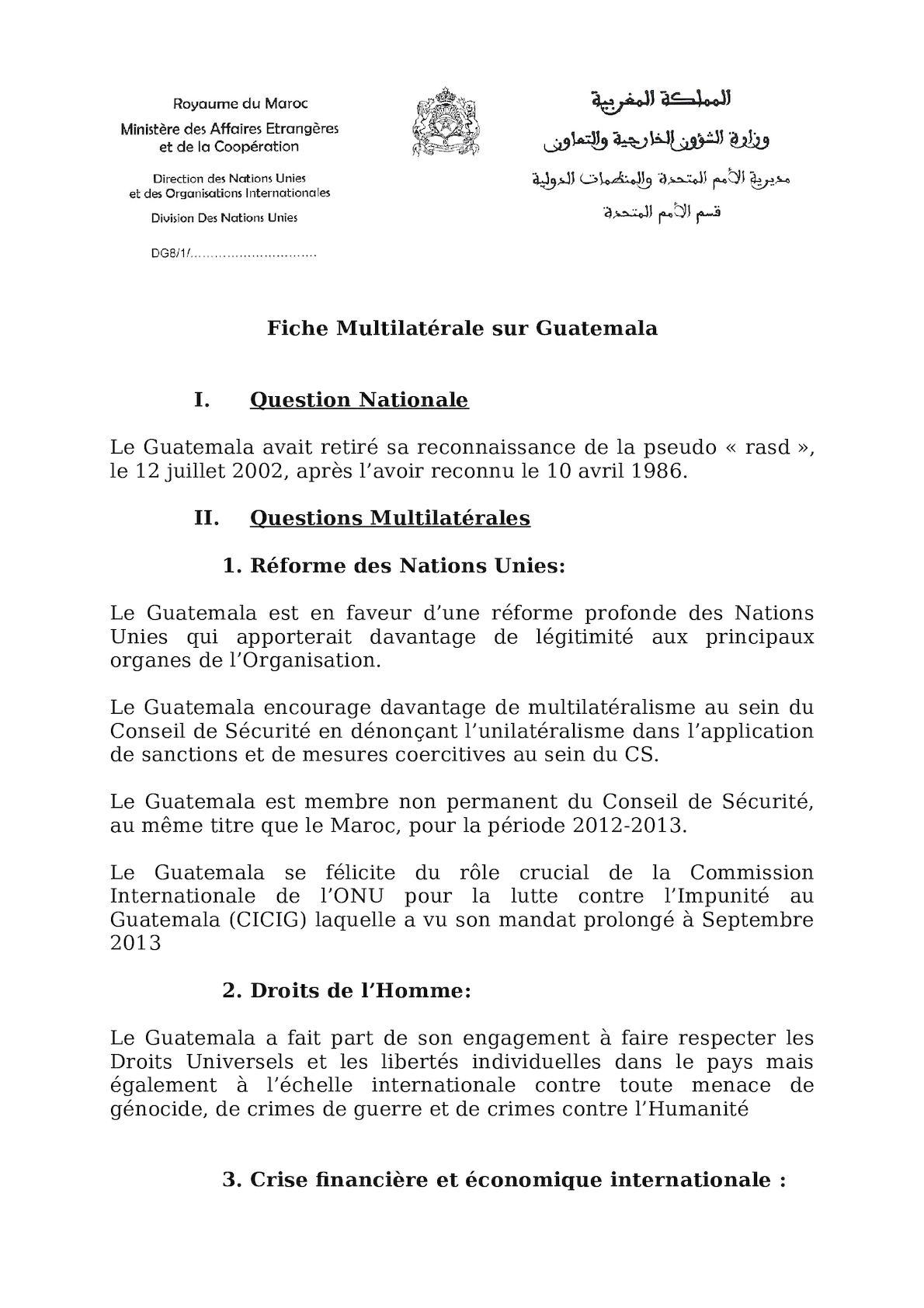 Fiche Multilatérale Guatemala Juin 2012
