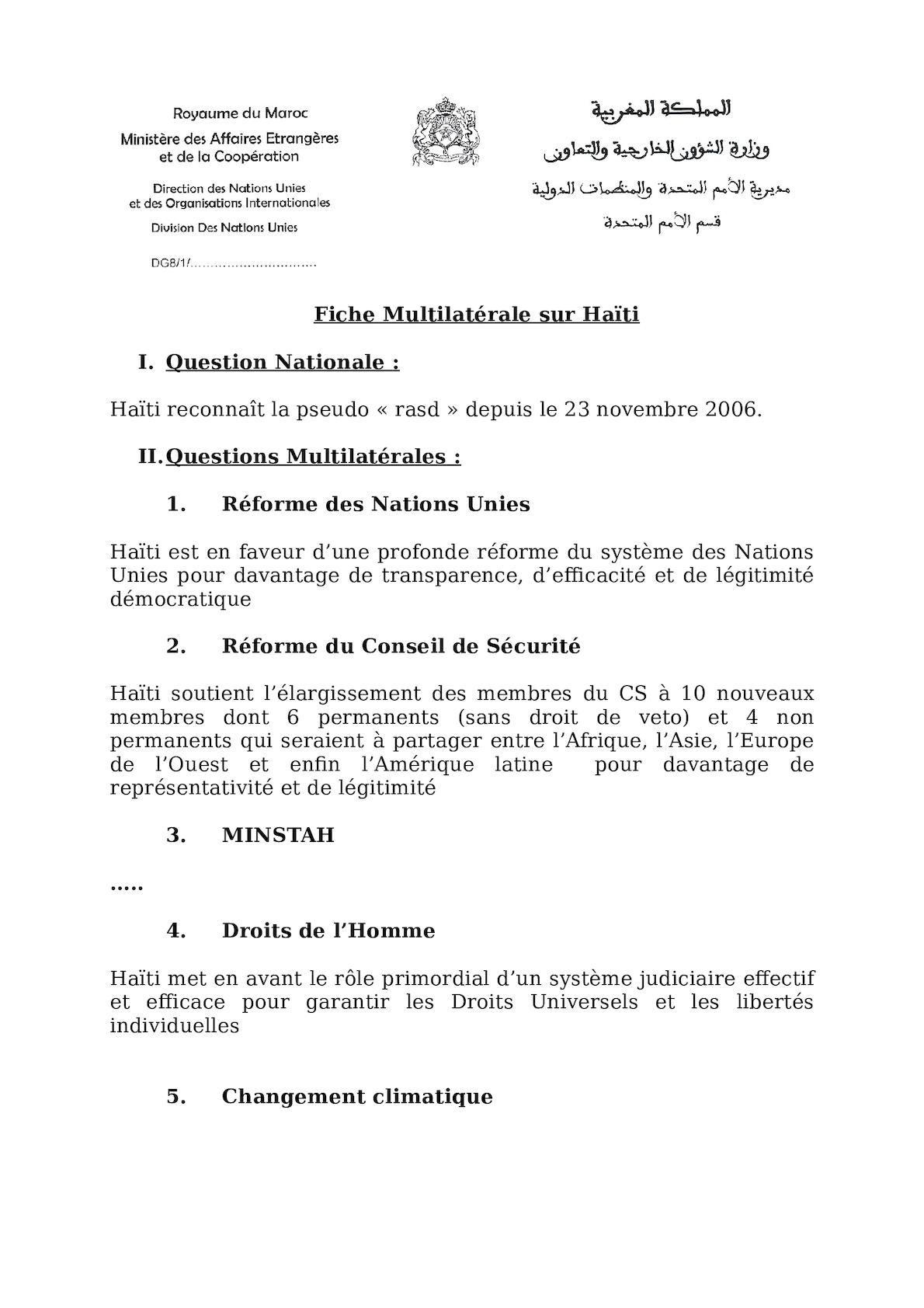 Fiche Multilatérale Haïti