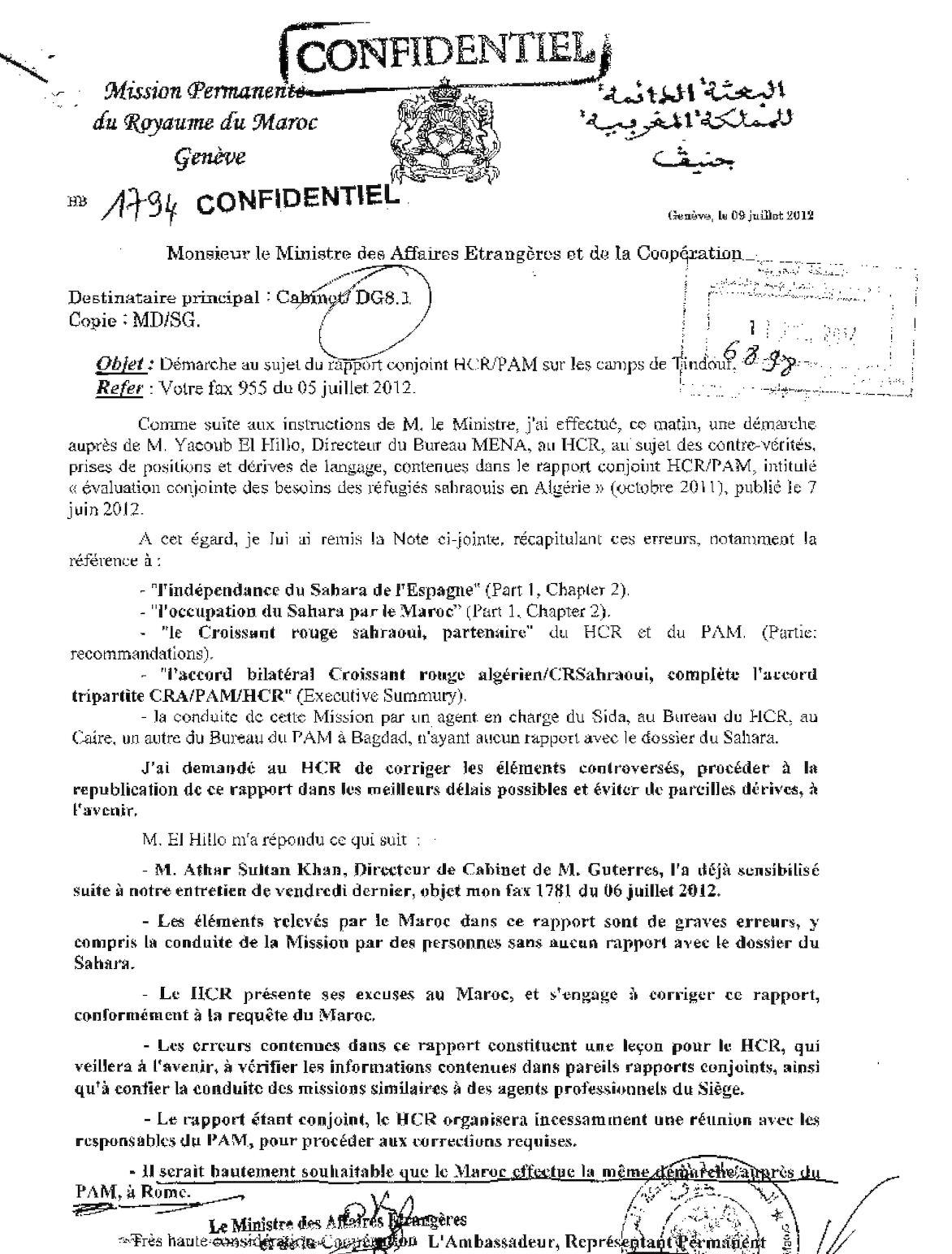 1794 Genève Réponse Ministre