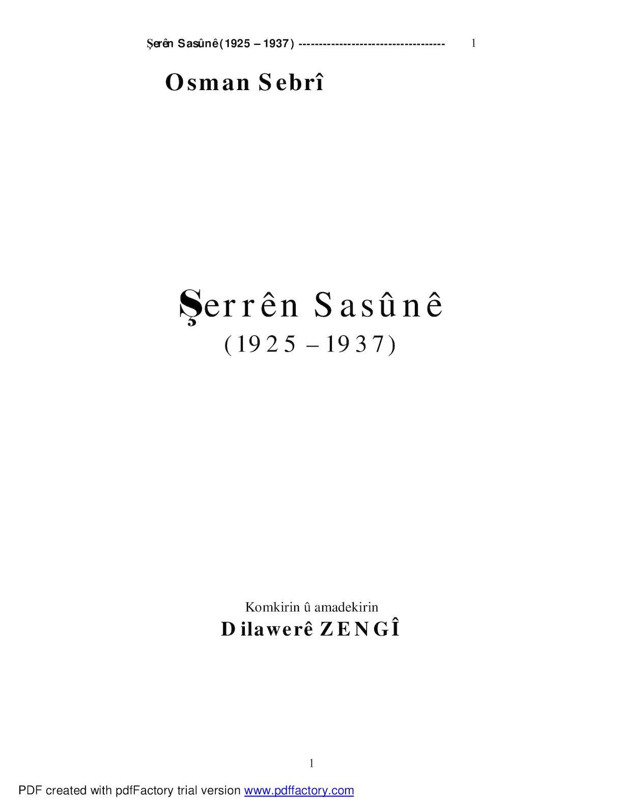 Şerrên Sasûnê (1925 – 1937).