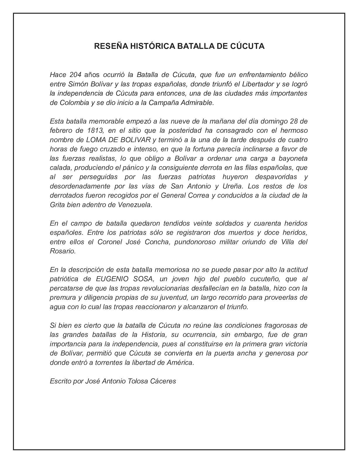 Reseña Histórica Sobre La Batalla De Cúcuta