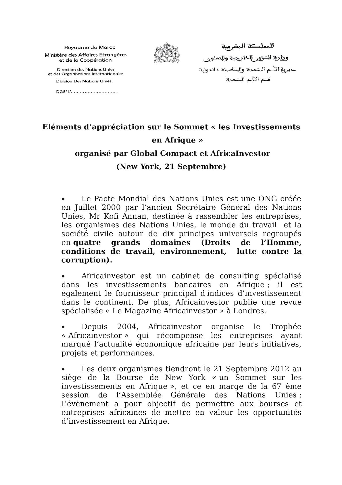 Eléments D'appréciation Global Compact