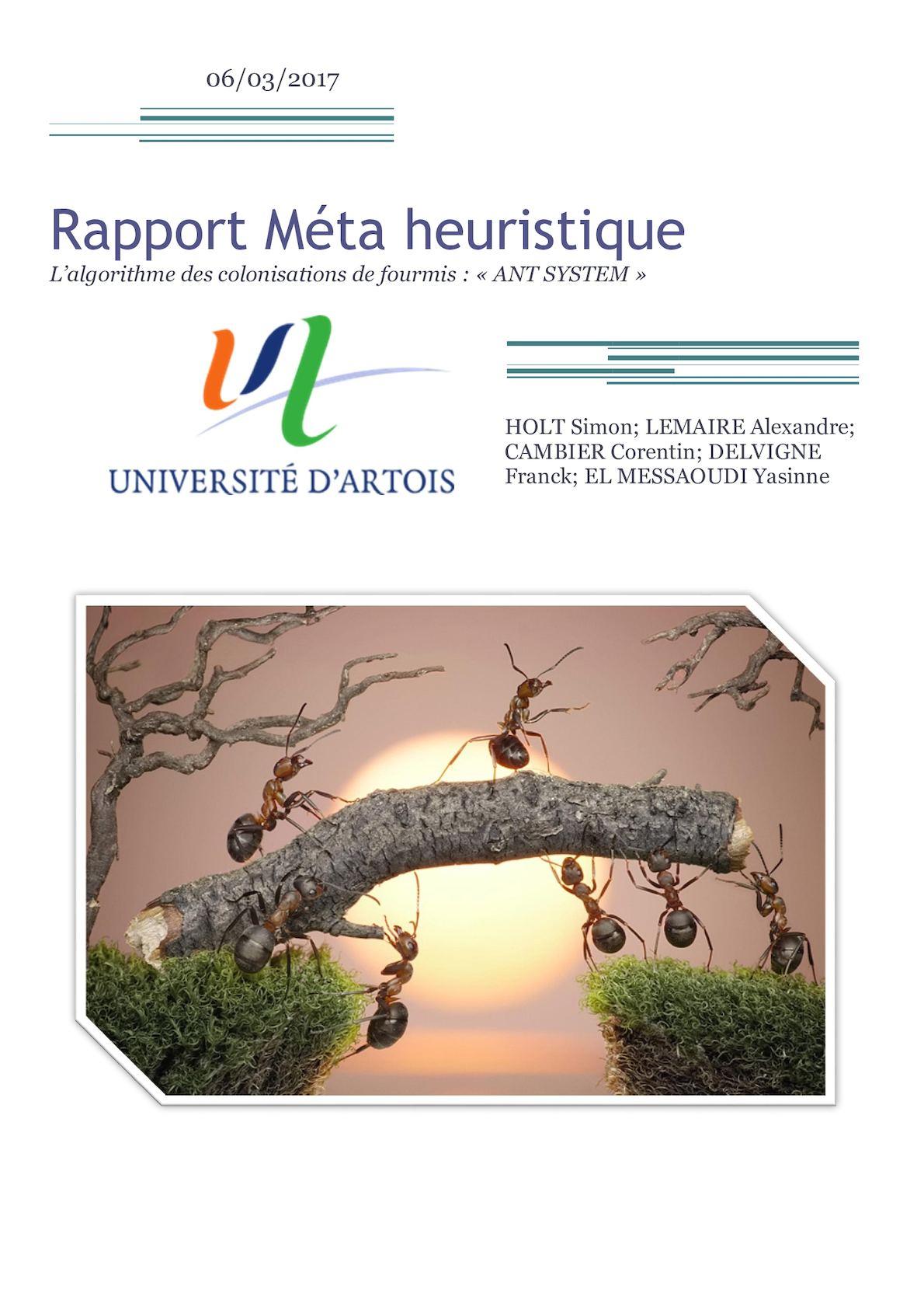 Rapport Méta Heuristique Ant System 2017