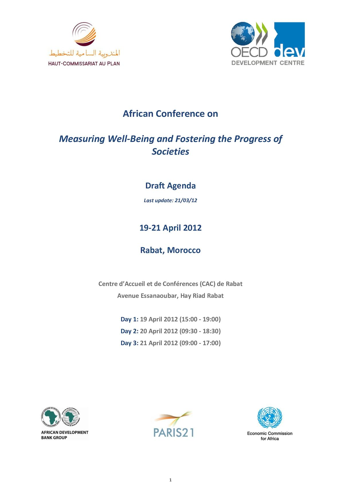 African Conference Measuring Progress Morocco Draft Agenda Ii Asof April 2