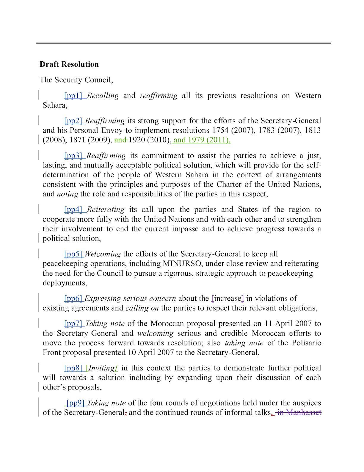 120406 Projet De Résolution MINURSO