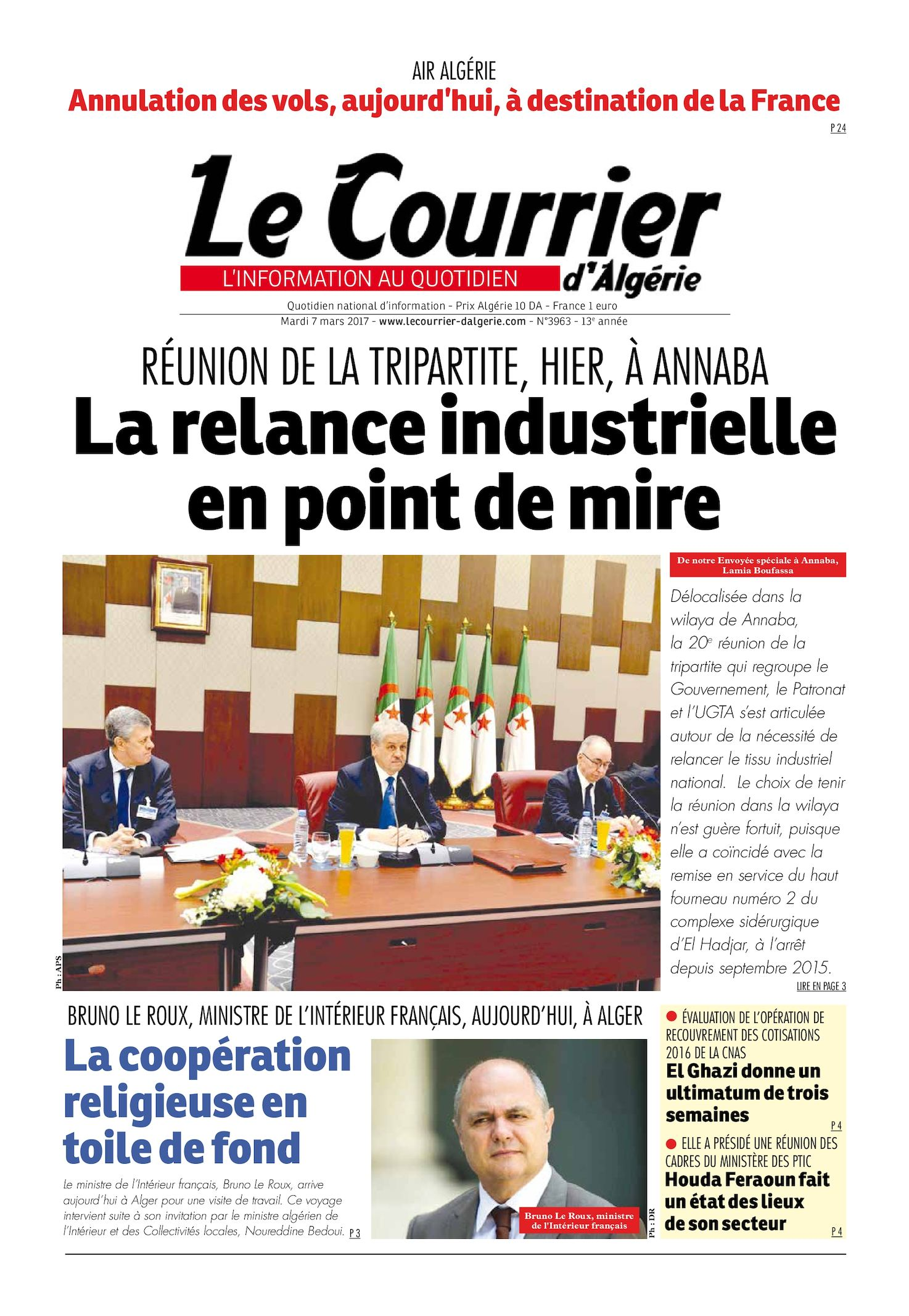 Le Courrier D'Algérie Du Mardi 7 Mars 2017