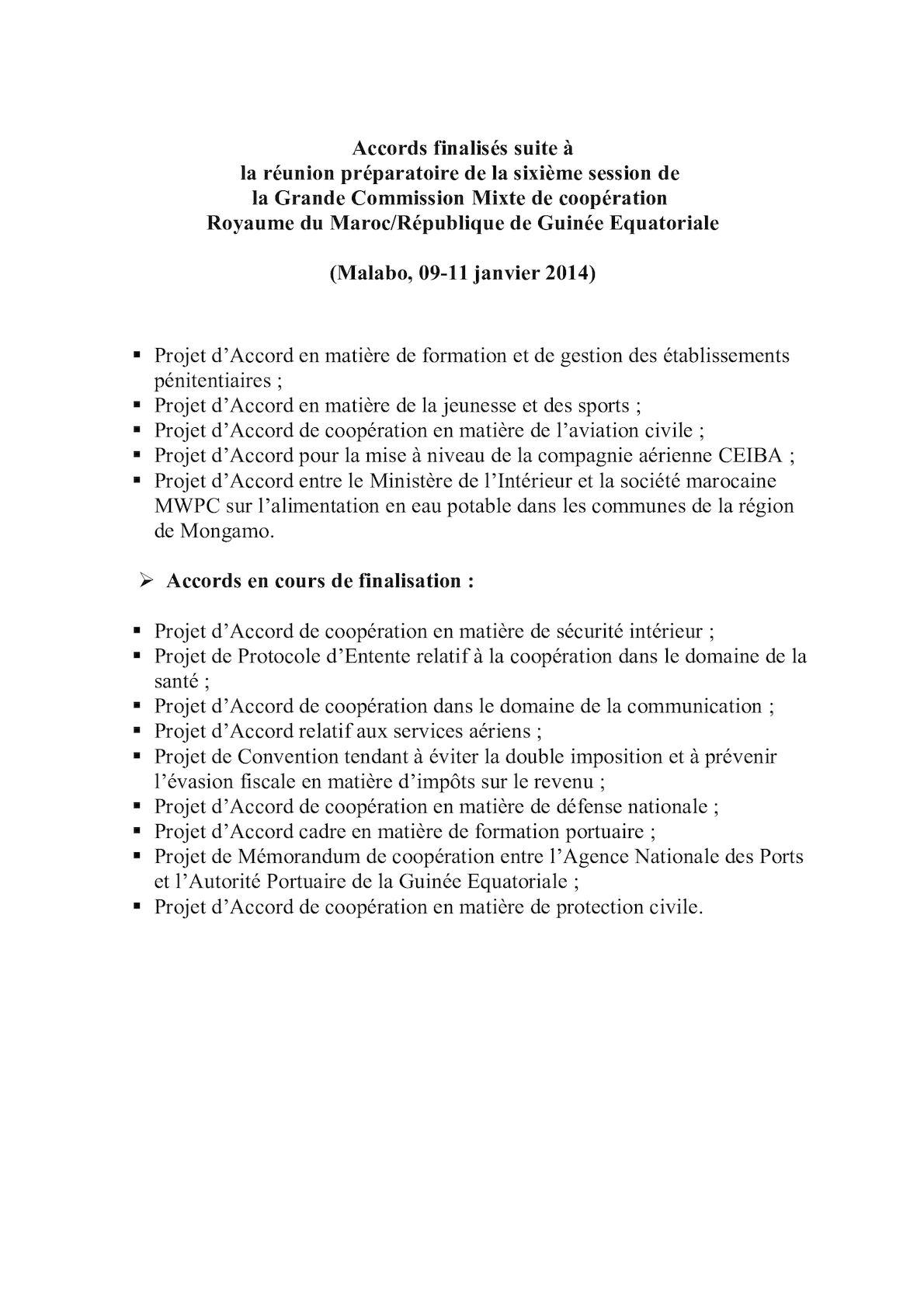 Accords Finalisés CM Guinée Equatoriale