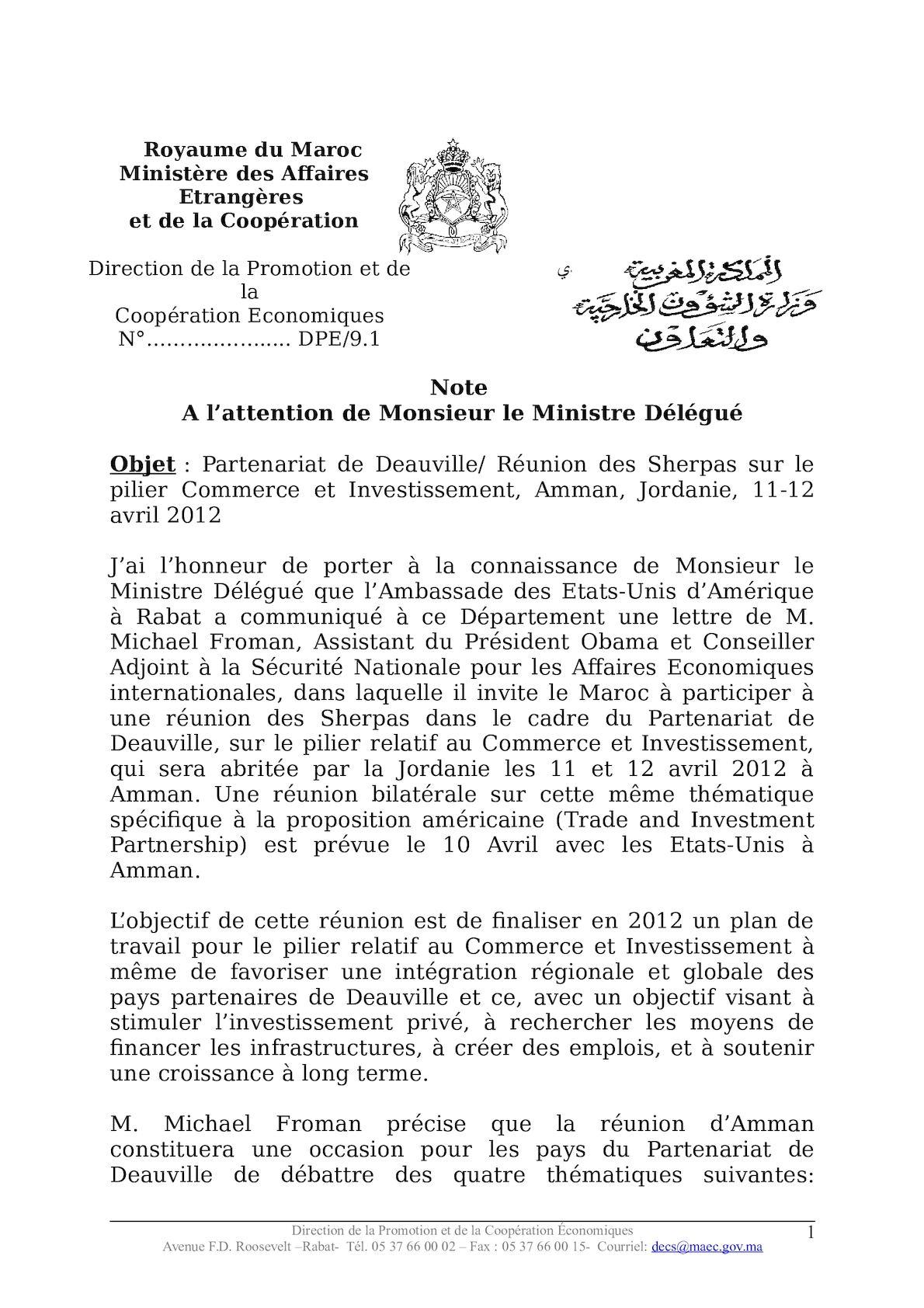 Note Réunion Amman Partenariat De Deauville Md