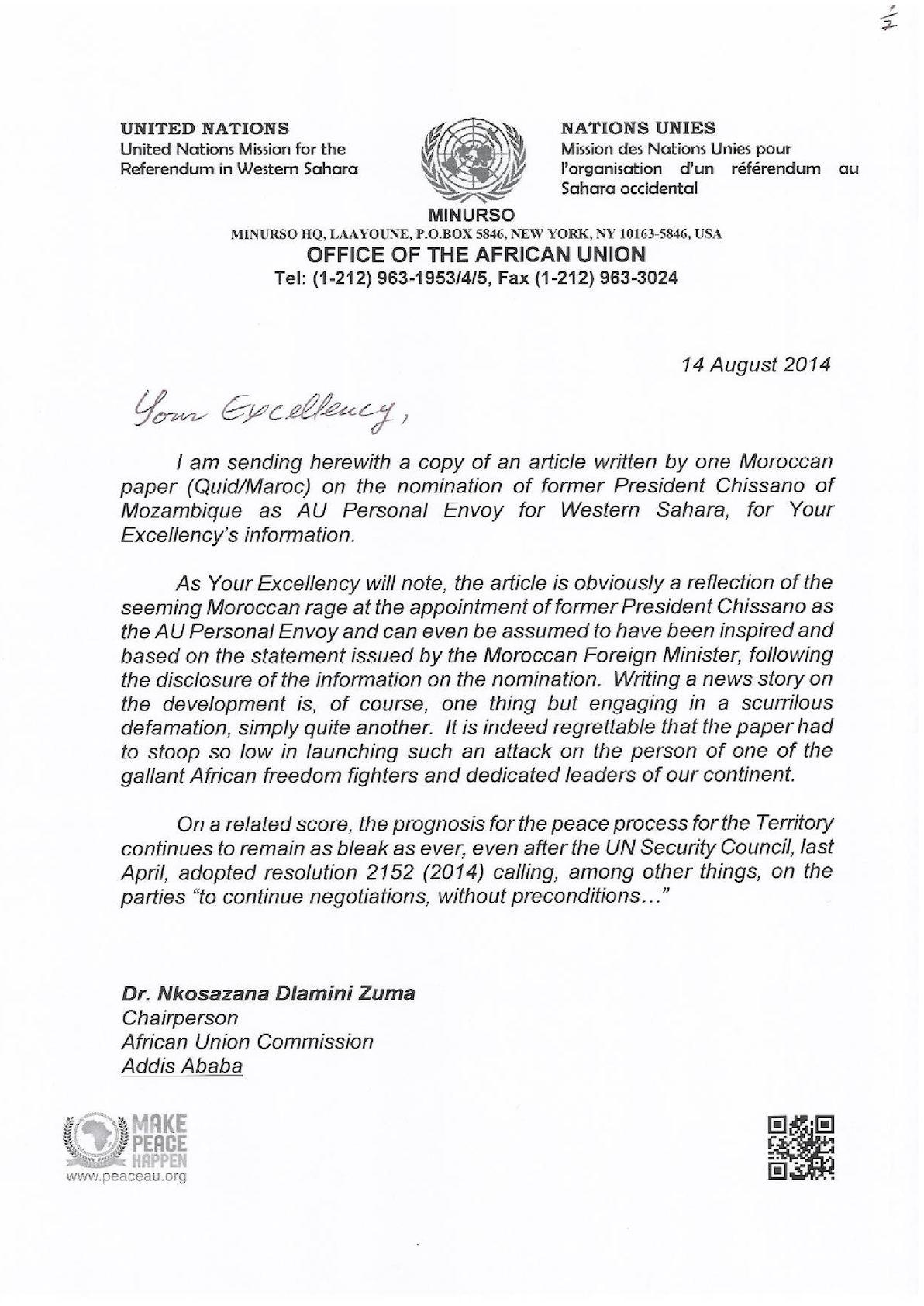 Au Special Envoy For Western Sahara