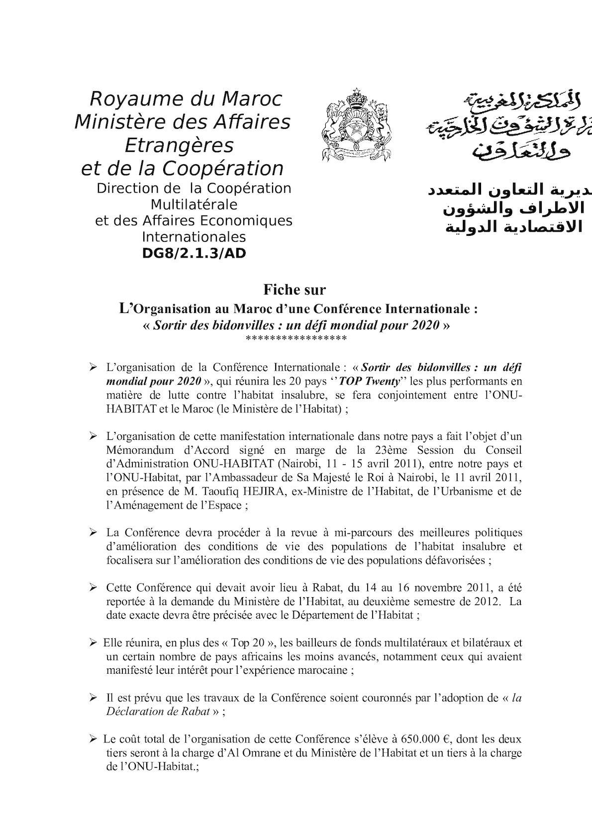 Fiche ONU HABITAT Conférence Top2027Mars2012