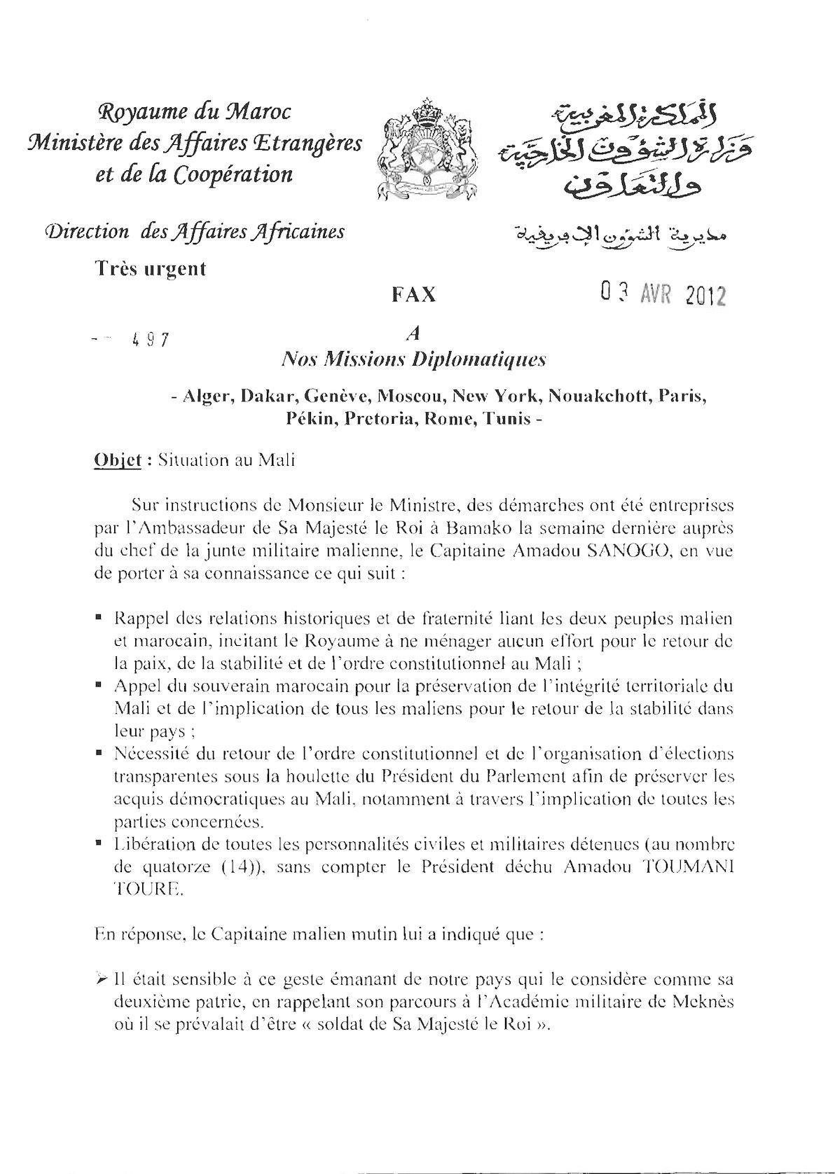 03 04 12, Missions Diplomatiques, Situatio Mali