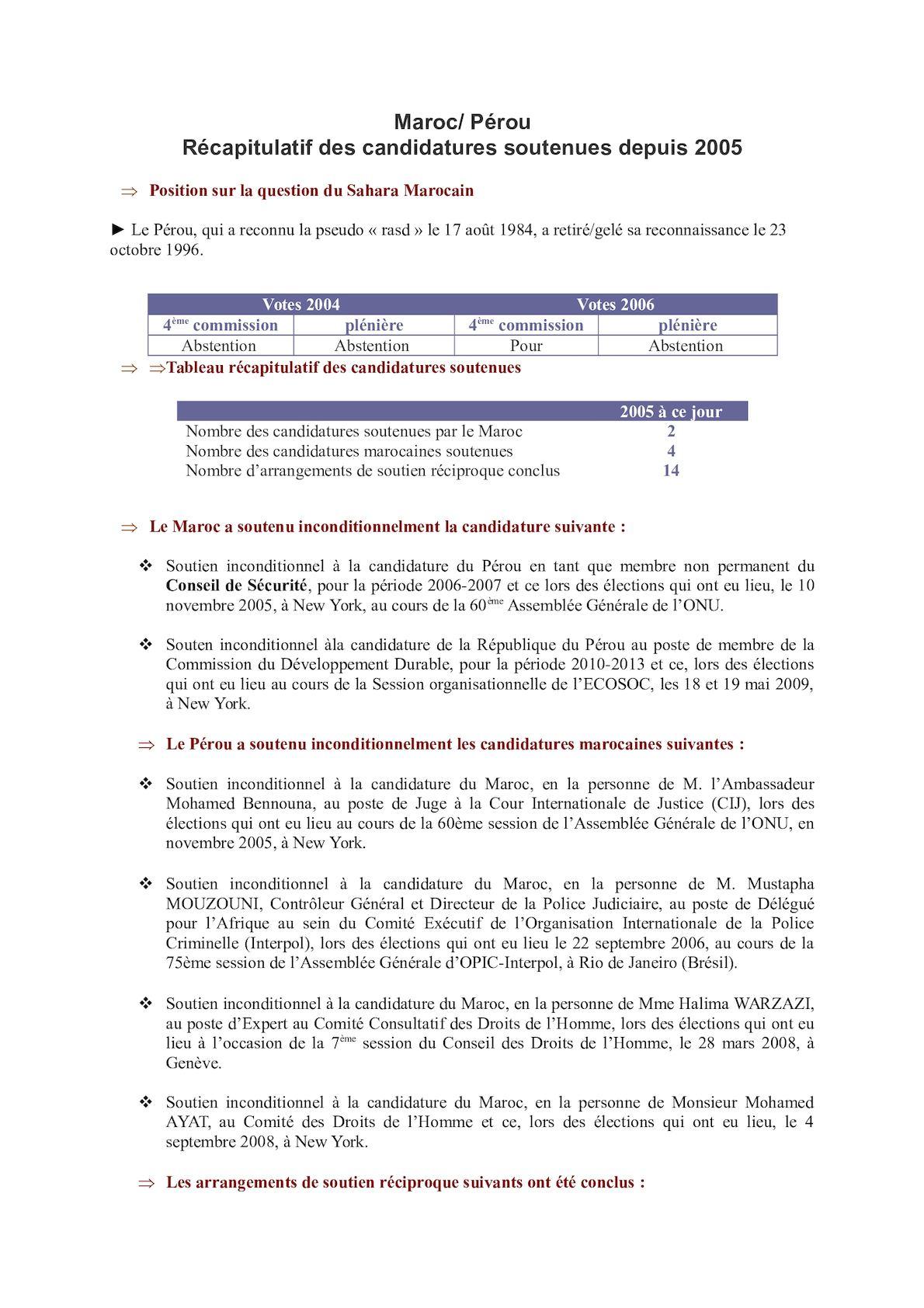 Fiche Soutien Candidature Pérou