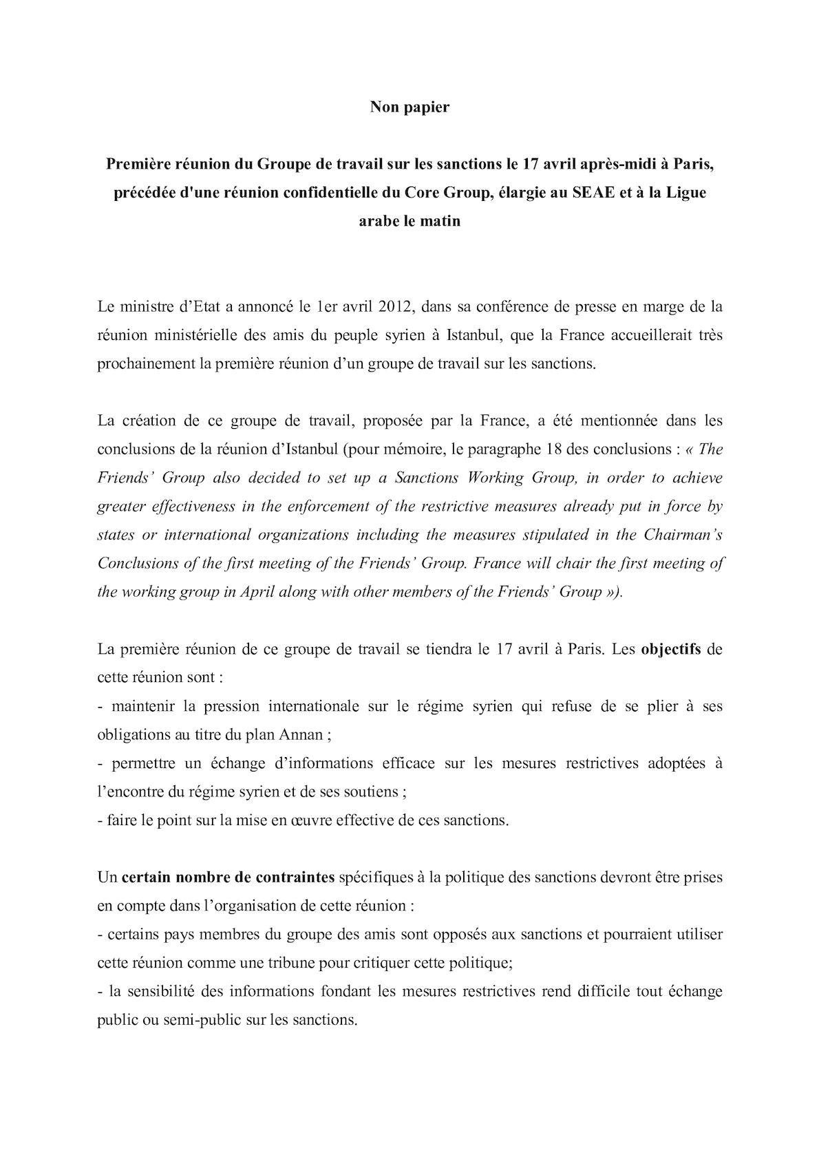 120411 Non Papier Groupe De Travail Sanctions Syrie